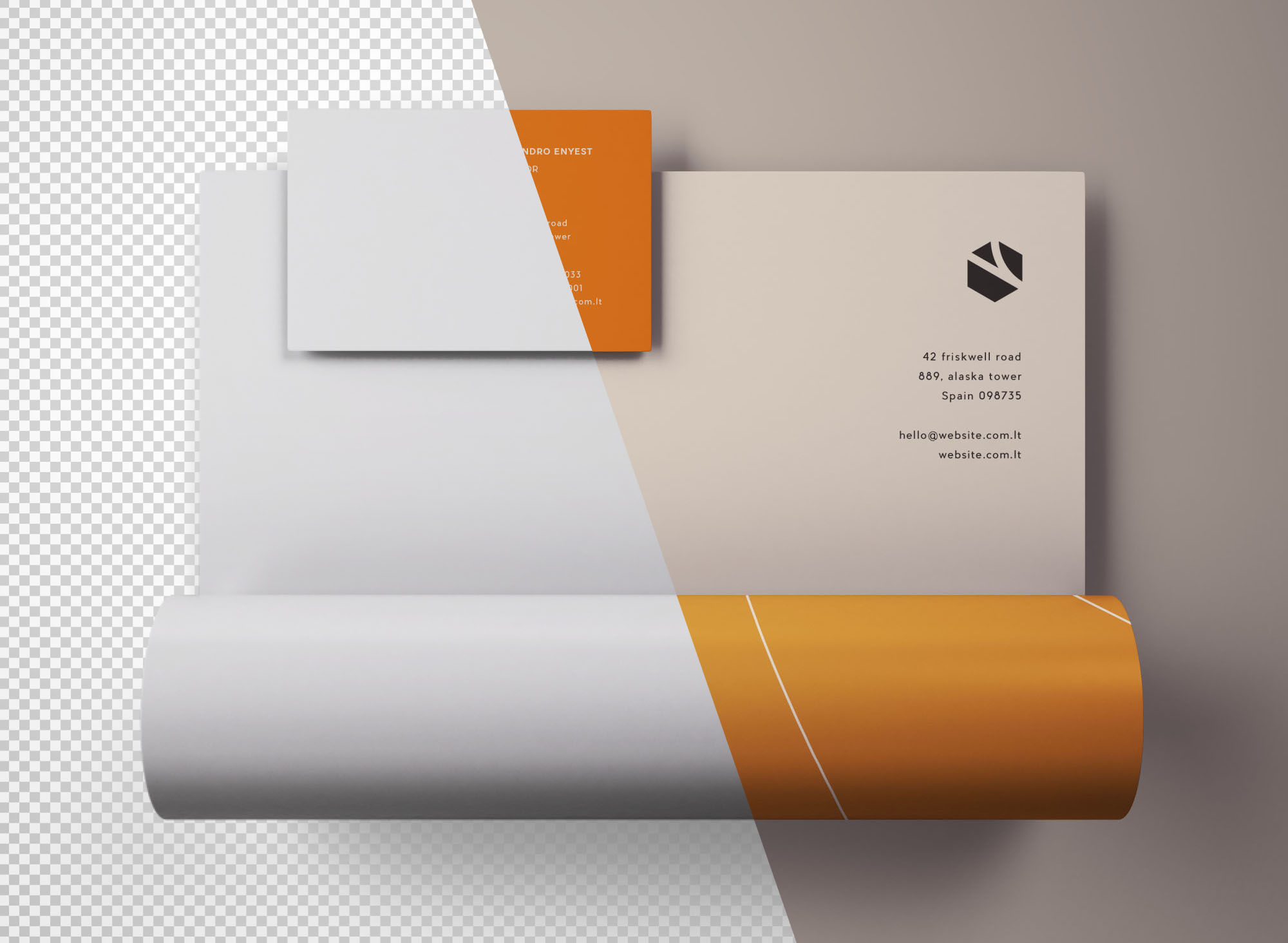 Letterhead & Business Card Mockup - Transparent