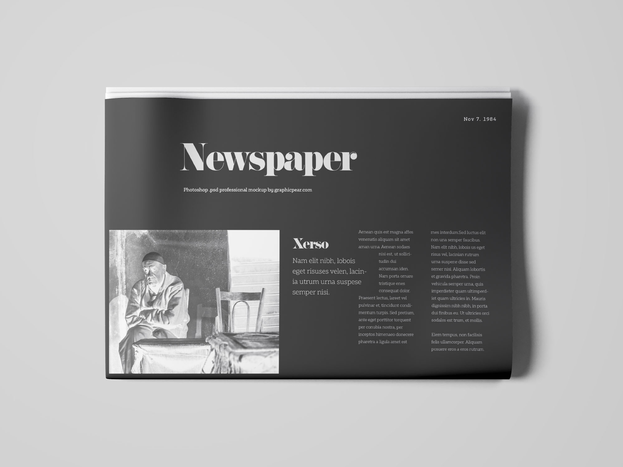 Newspapper Top View Mockup - Dark