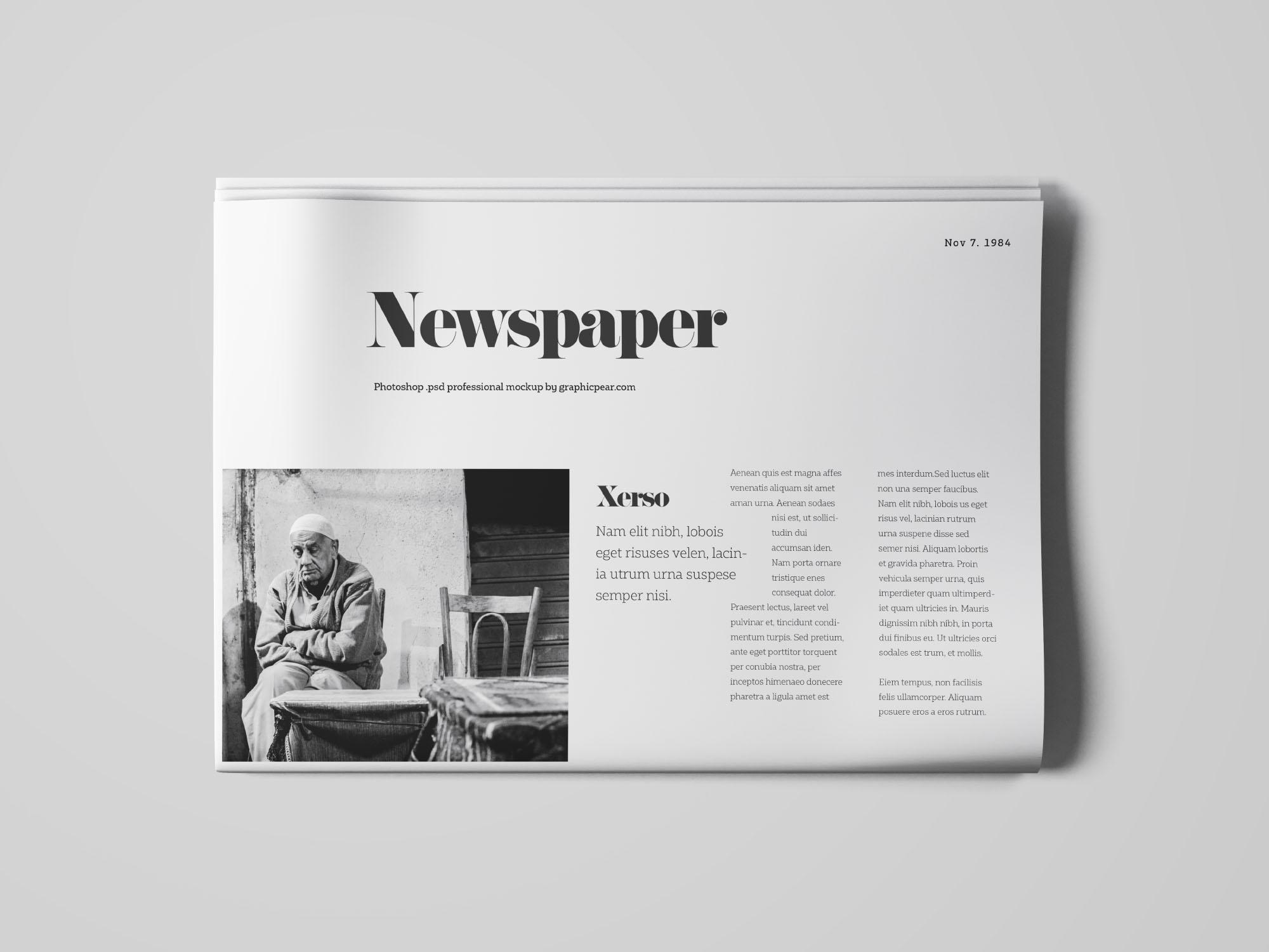 Newspapper Top View Mockup