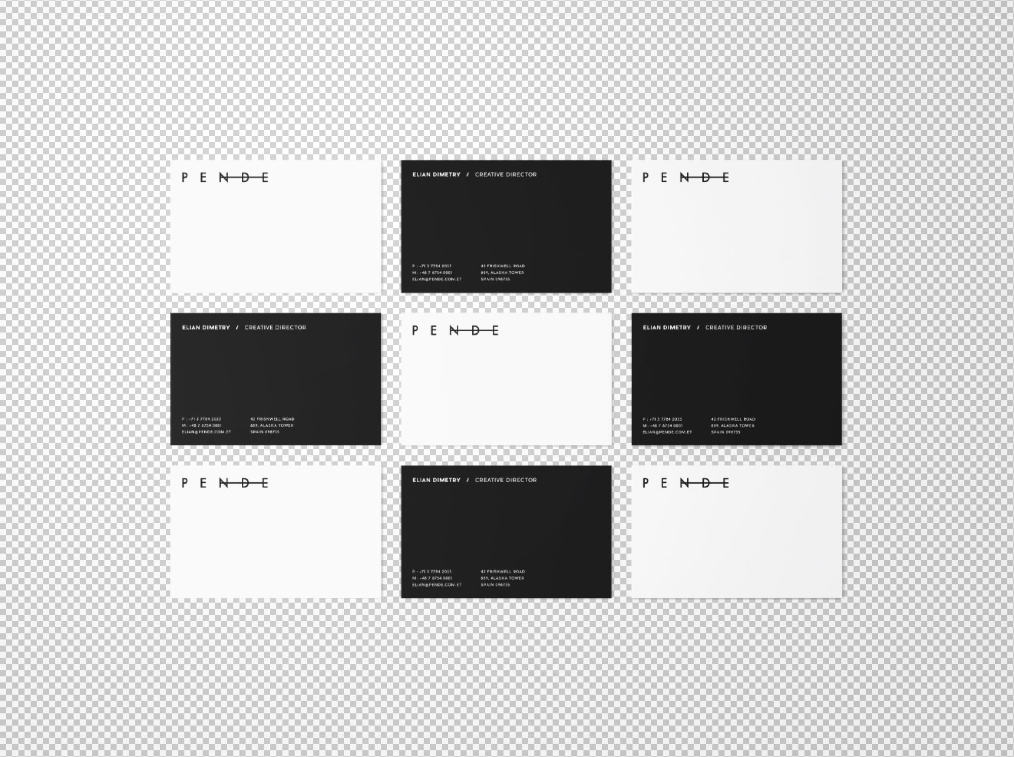 Uniform Business Cards Mockup - Transparent