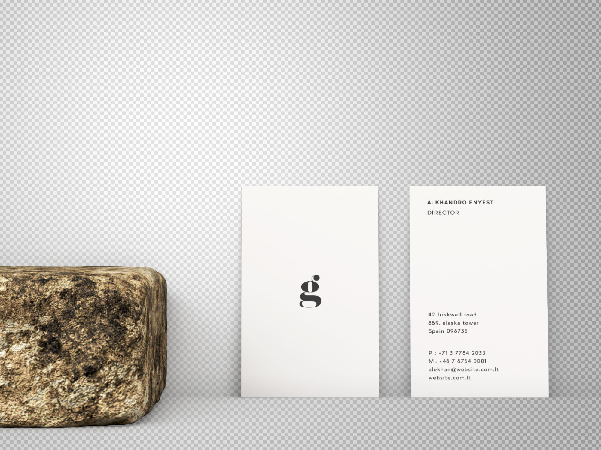 Vertical Business Card Mockup - Transparent