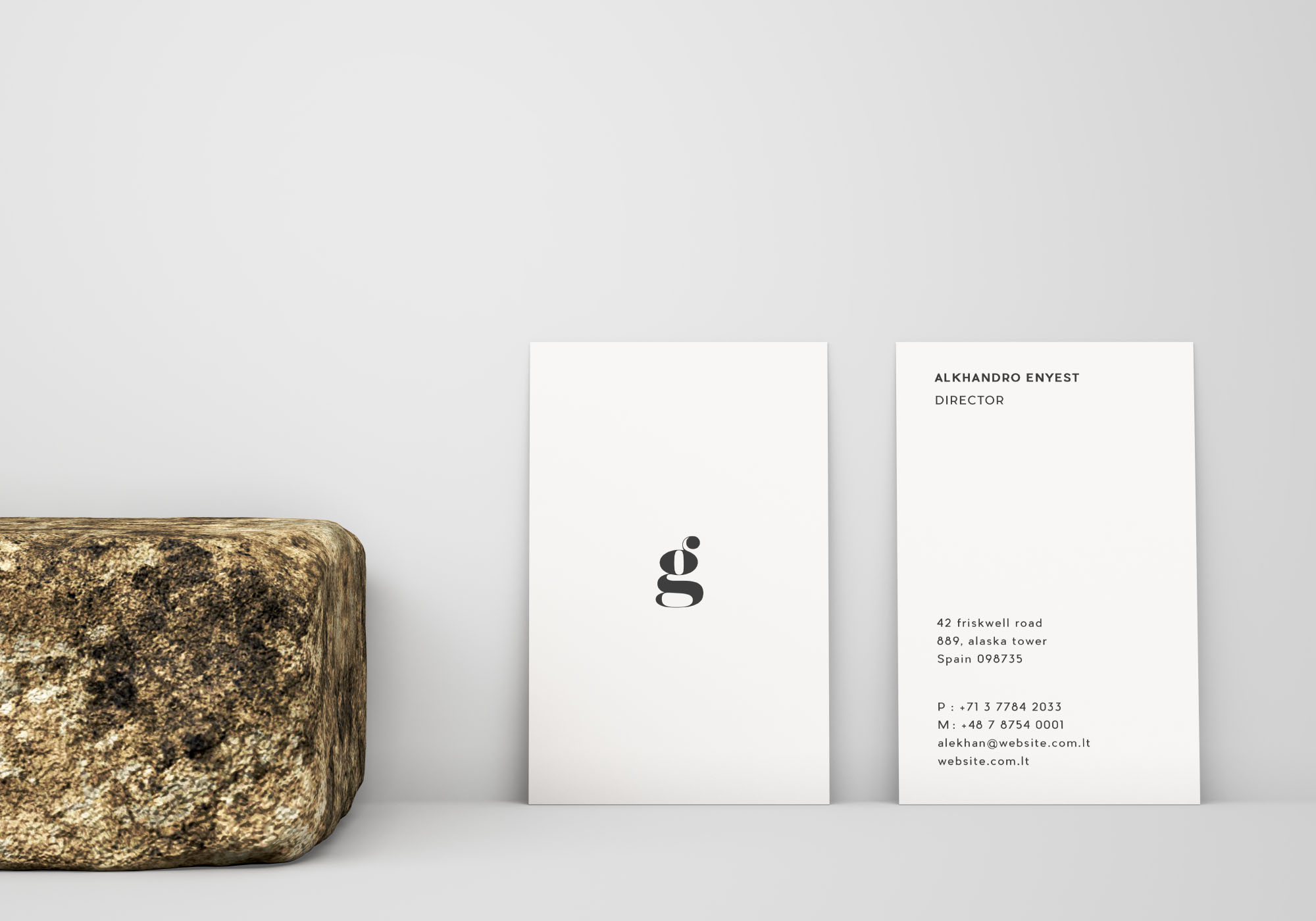 Vertical Business Card Mockup - Front & Back