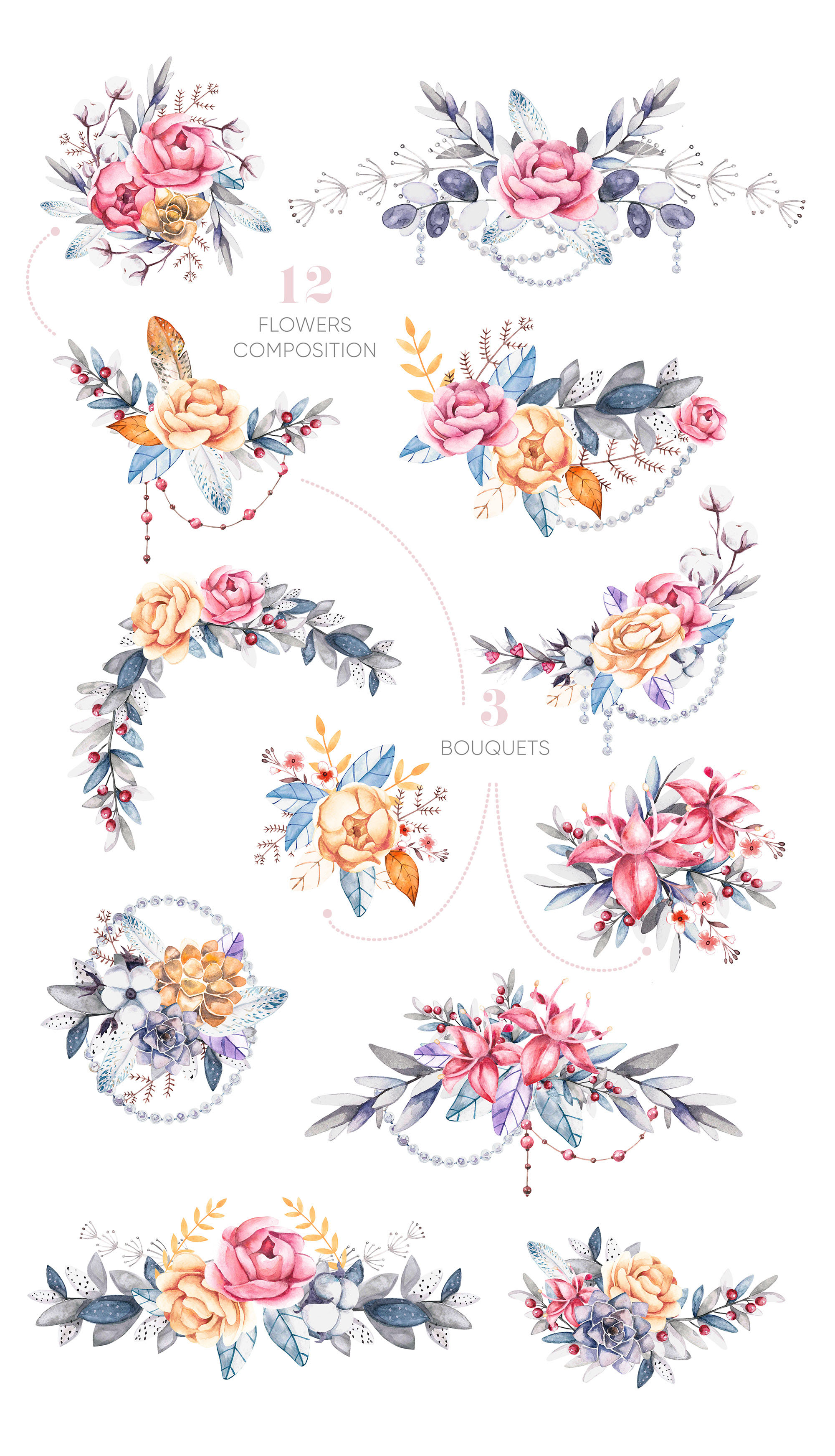 watercolor floral clipart elements and compositions