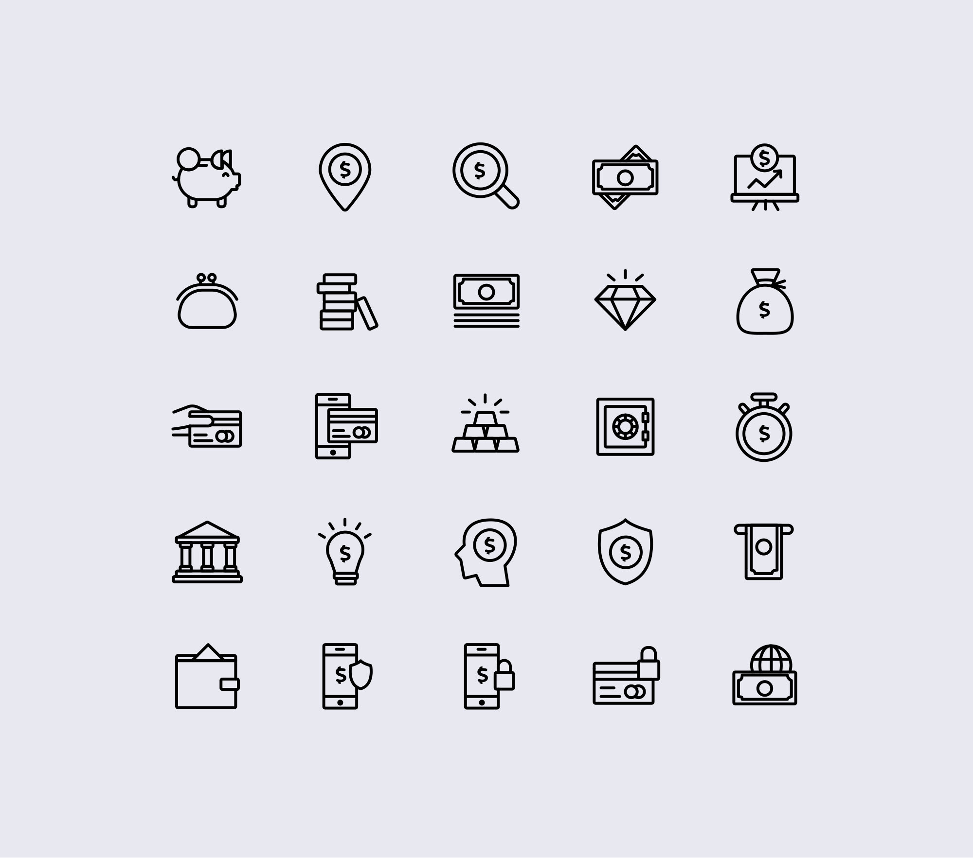 Finance Icons - White