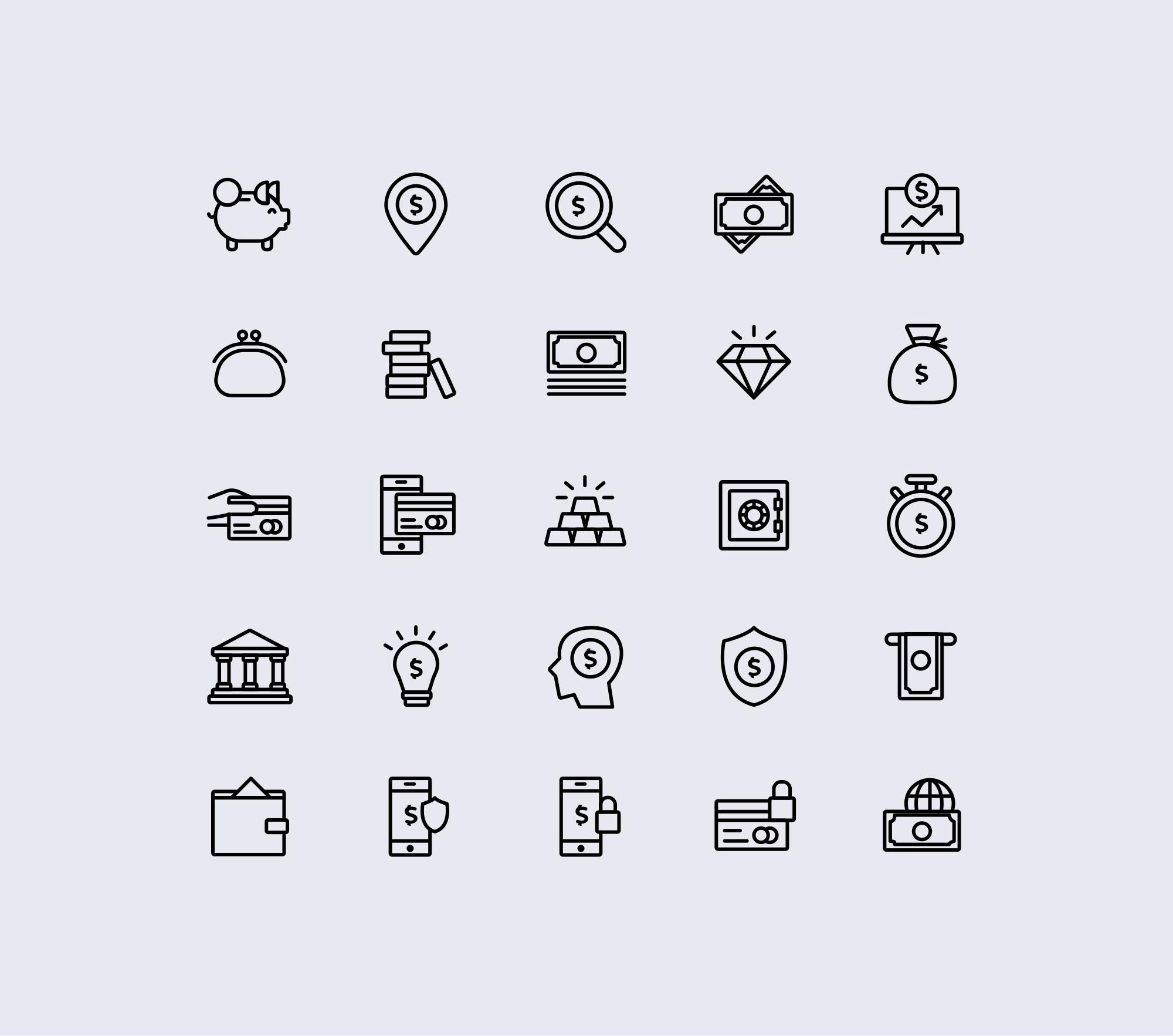 Finance Icons - White