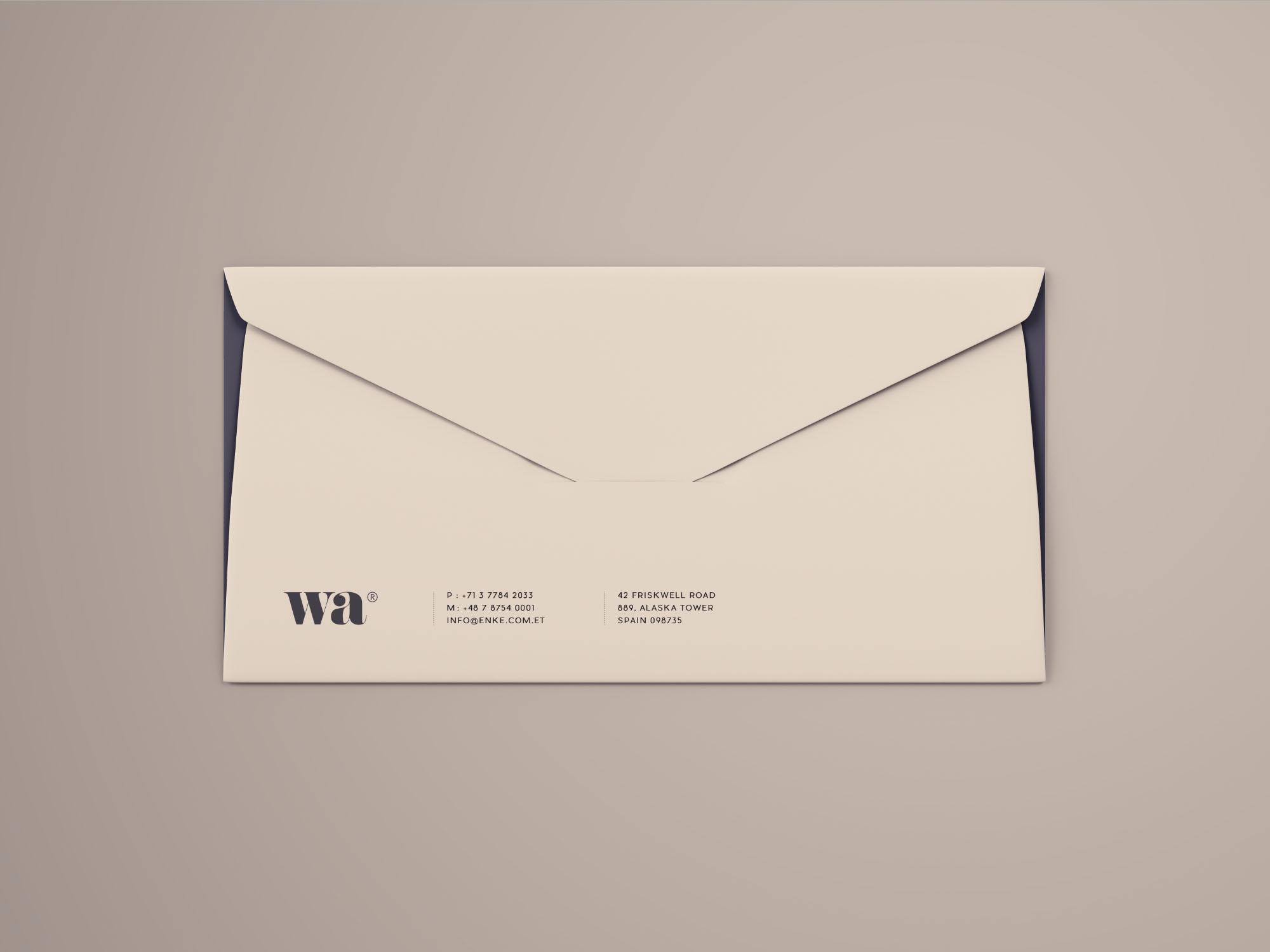 Side Seam Envelope Mockup - Gray