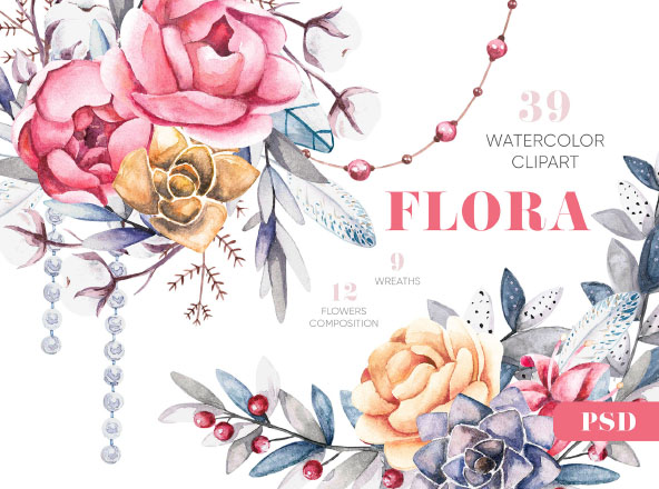 Flower Water Color Design Clipart Package