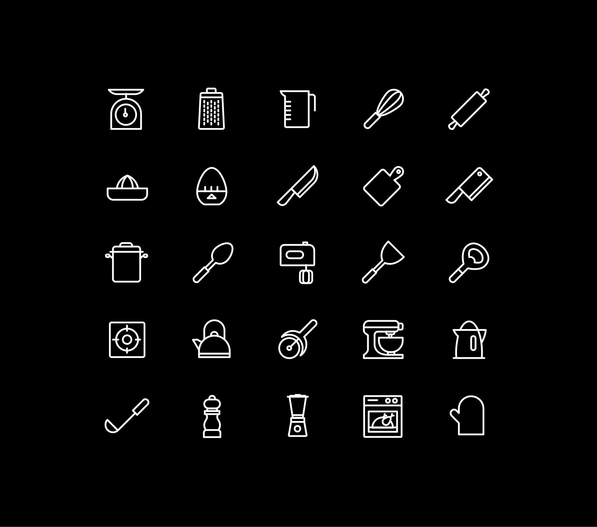 Kitchen Utensils Icons - Black