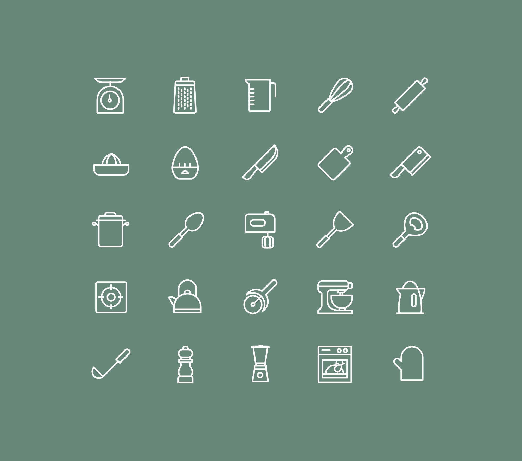 Kitchen Utensils Icons - Colored