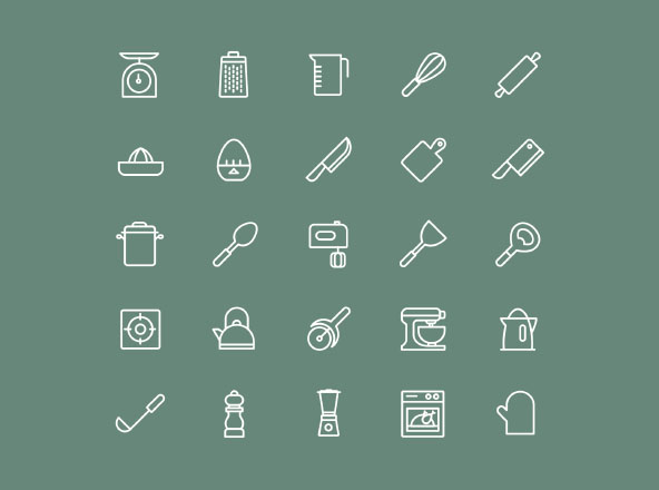 Kitchen Utensils Icons - Vector
