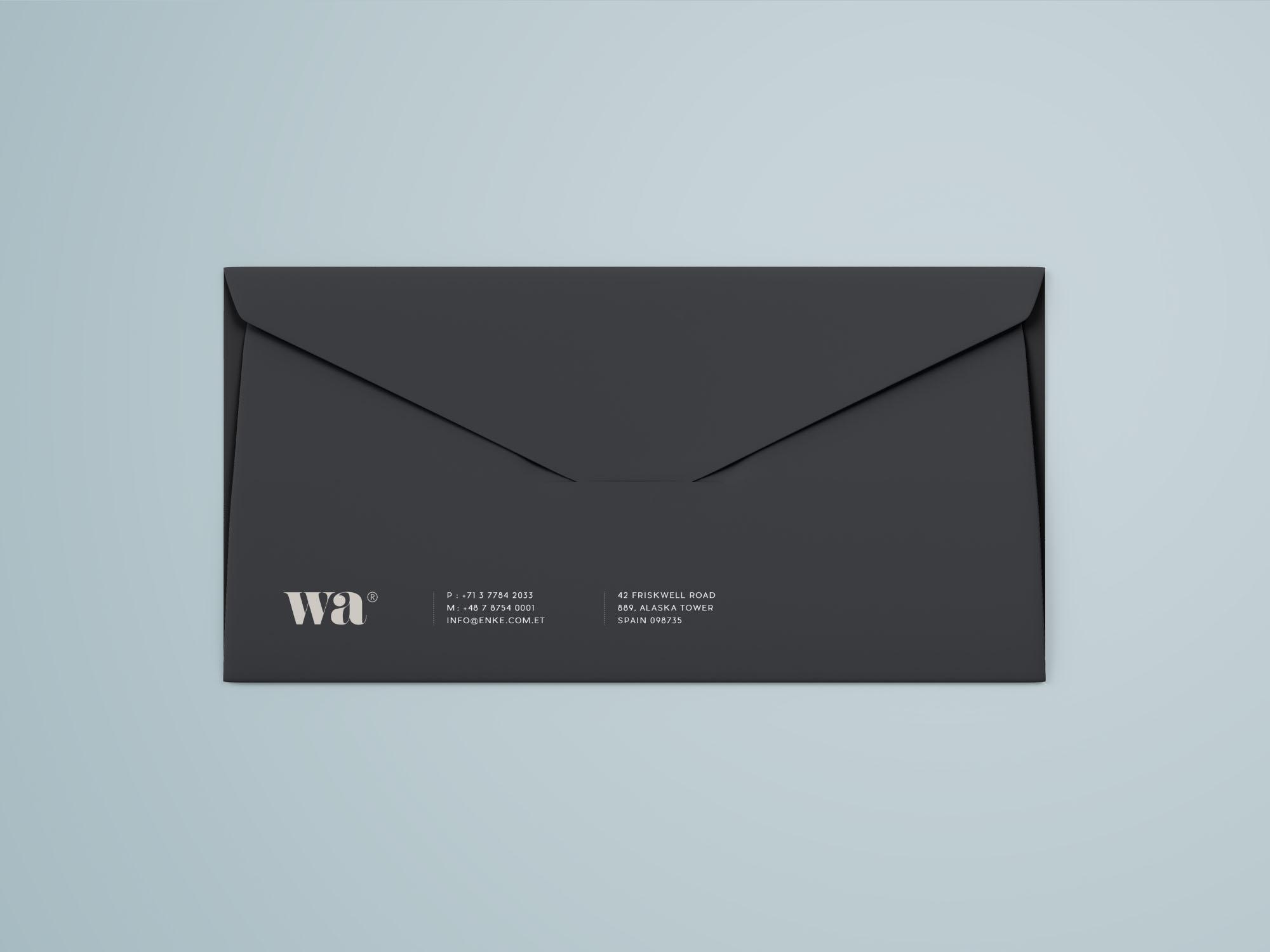 Side Seam Envelope Mockup - Dark Version