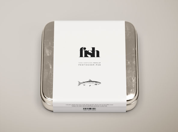 Square Metal Food Container Mockup