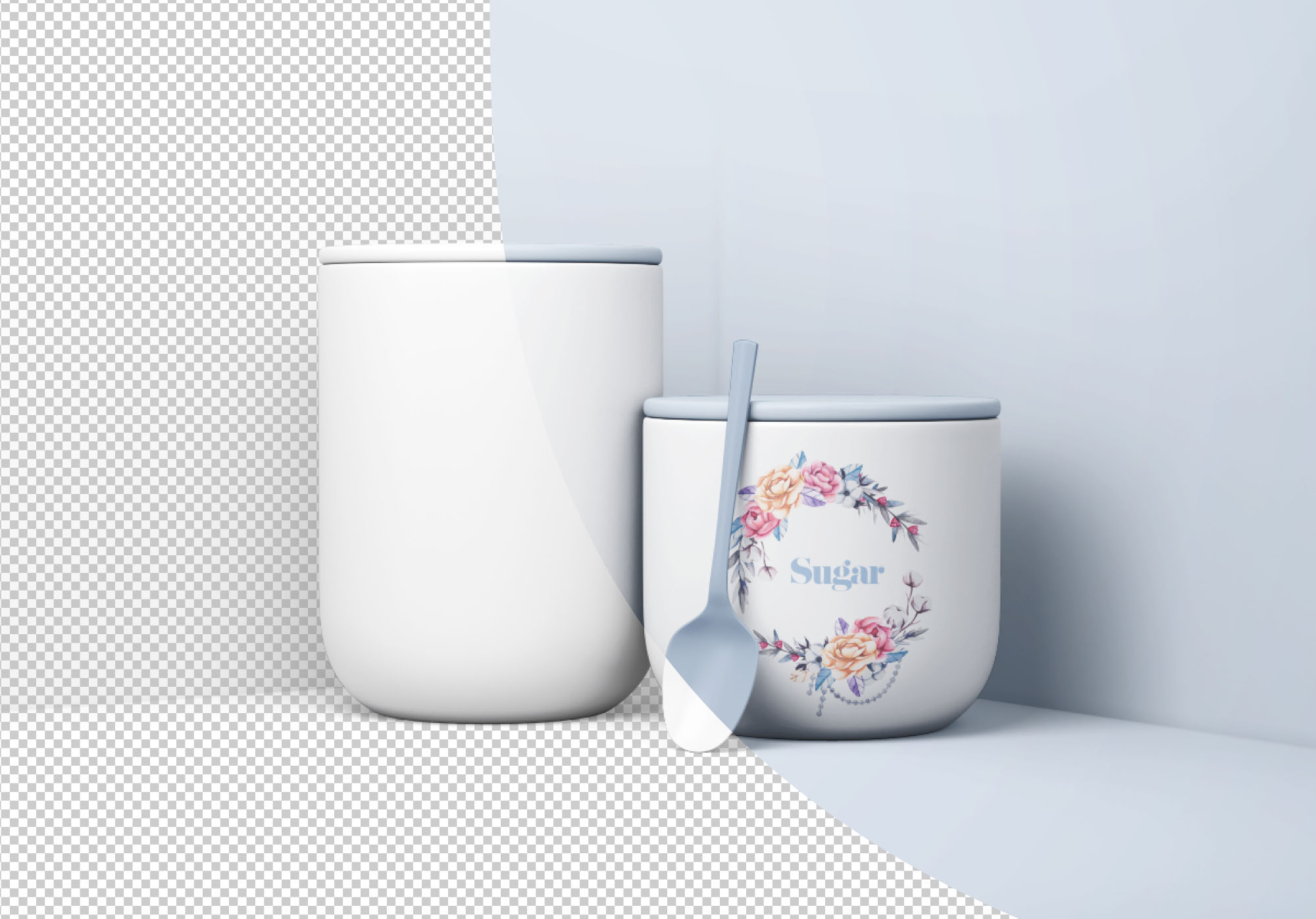 Minimal Jars with Spoon Mockup - Transparent