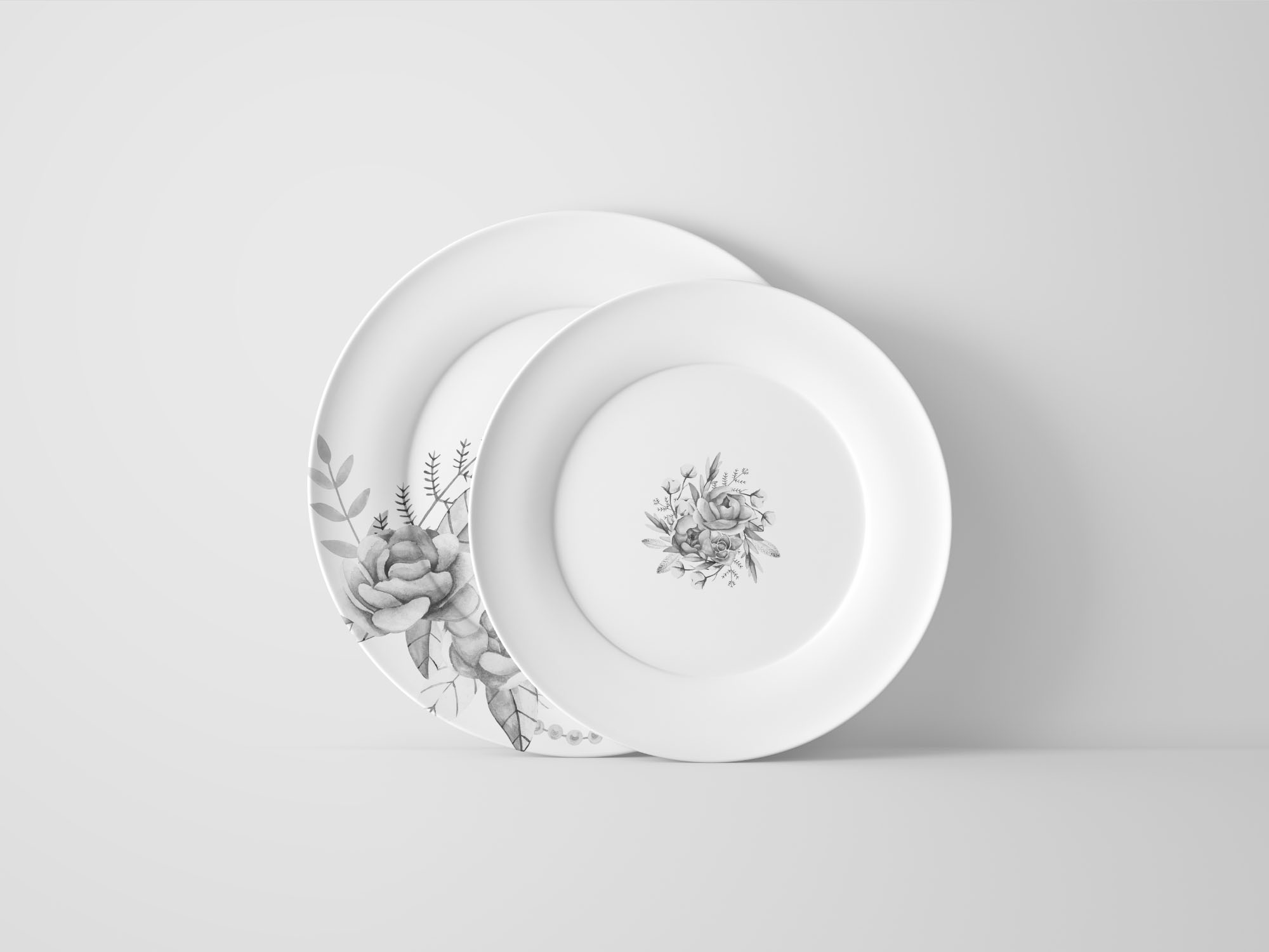Two Plates Mockup Front View - Black & White