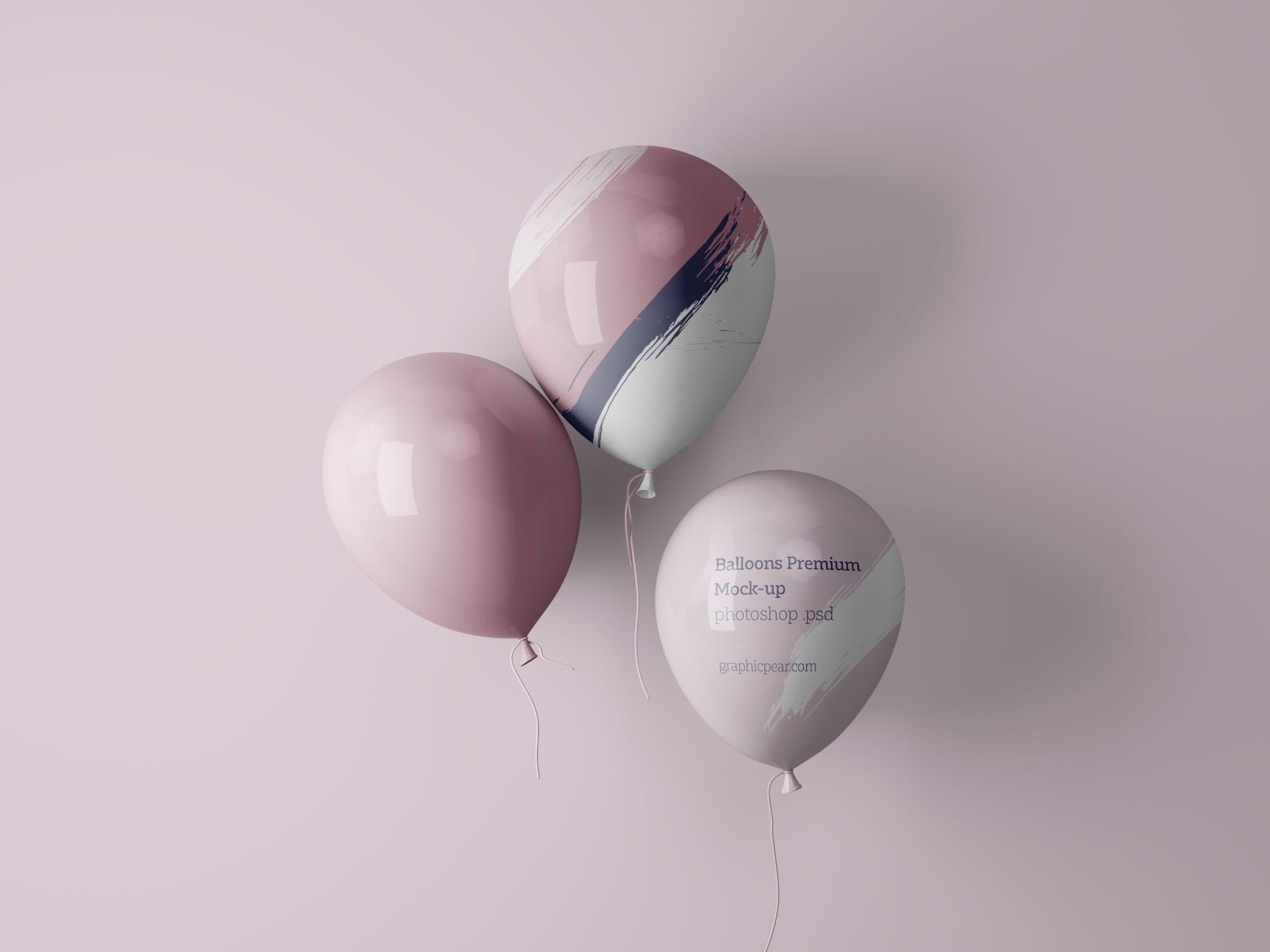 Balloons Mockup PSD