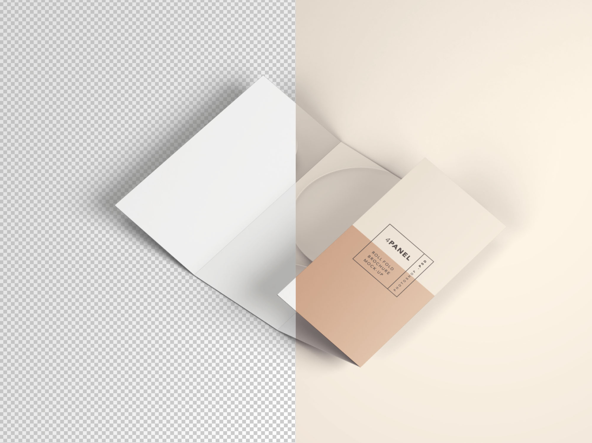 4 Panel Roll Fold Brochure Mockup - Transparent