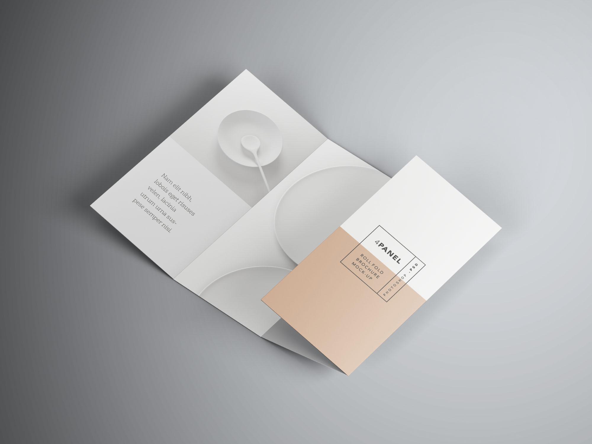 4 Panel Roll Fold Brochure Mockup