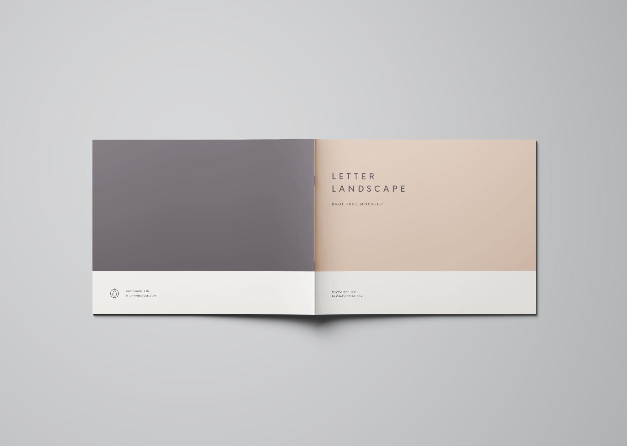letter landscape brochure mockup