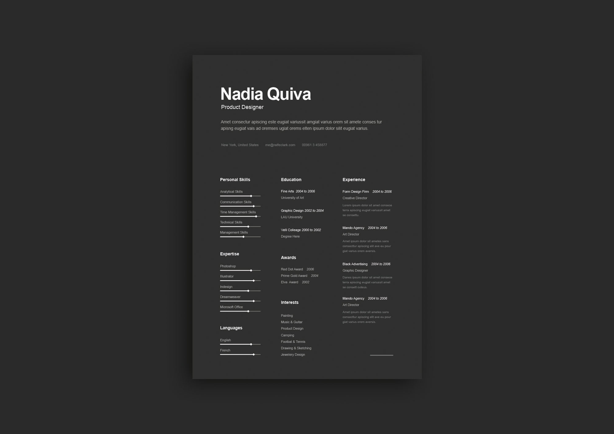 simple a4 dark resume template