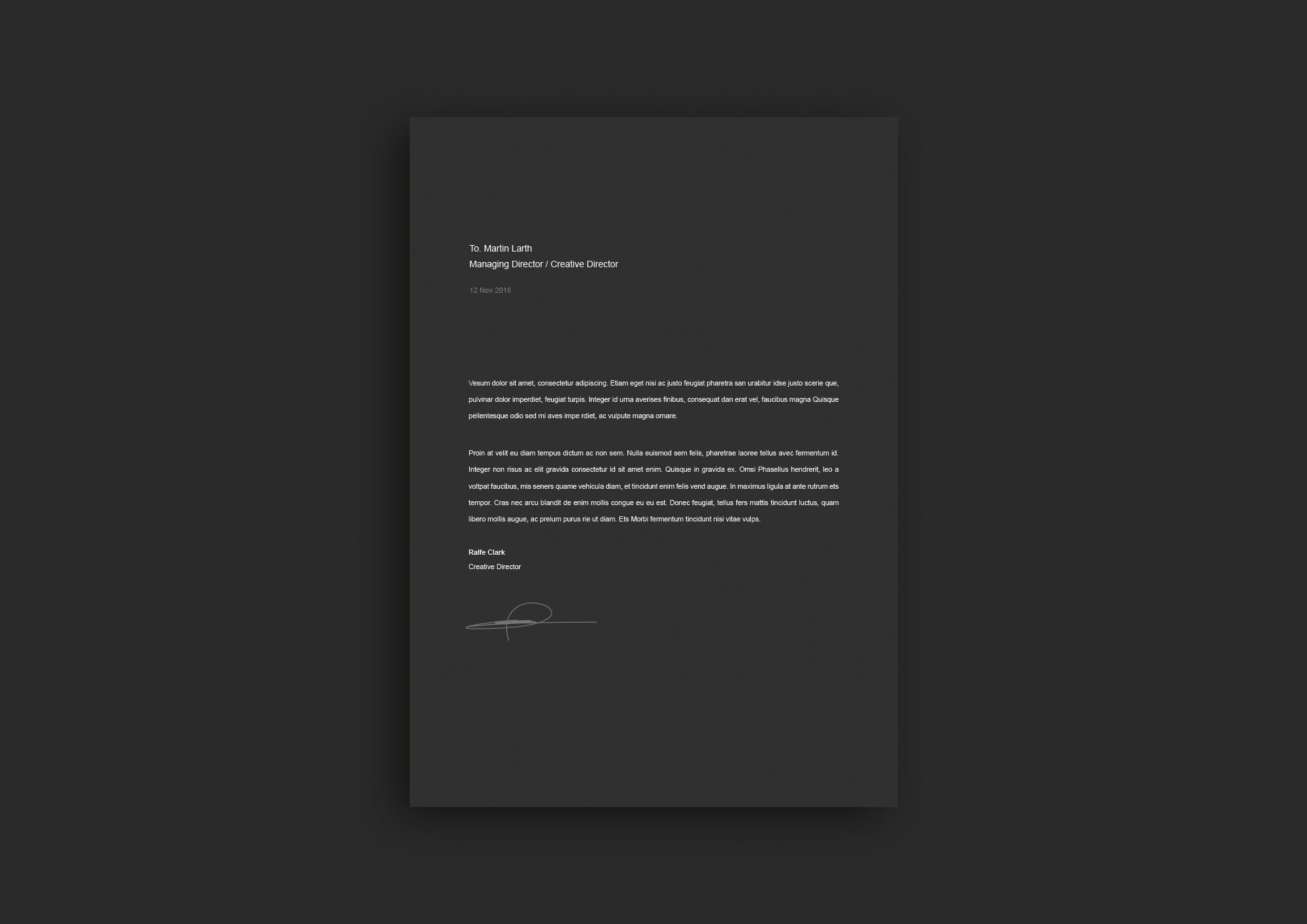Dark Resume Template - Cover Letter