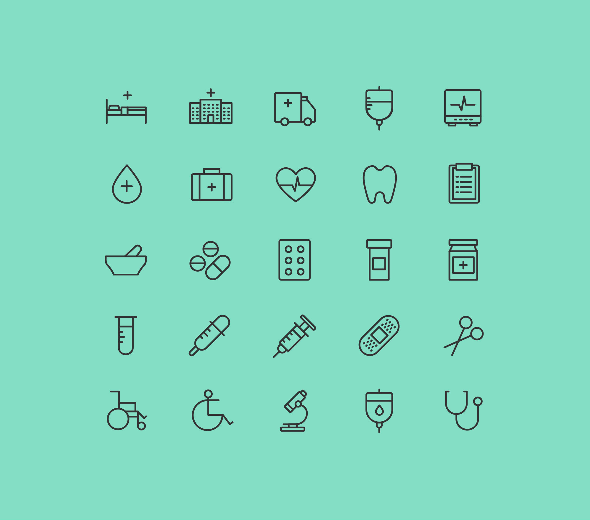 Health & Care Icons Vector