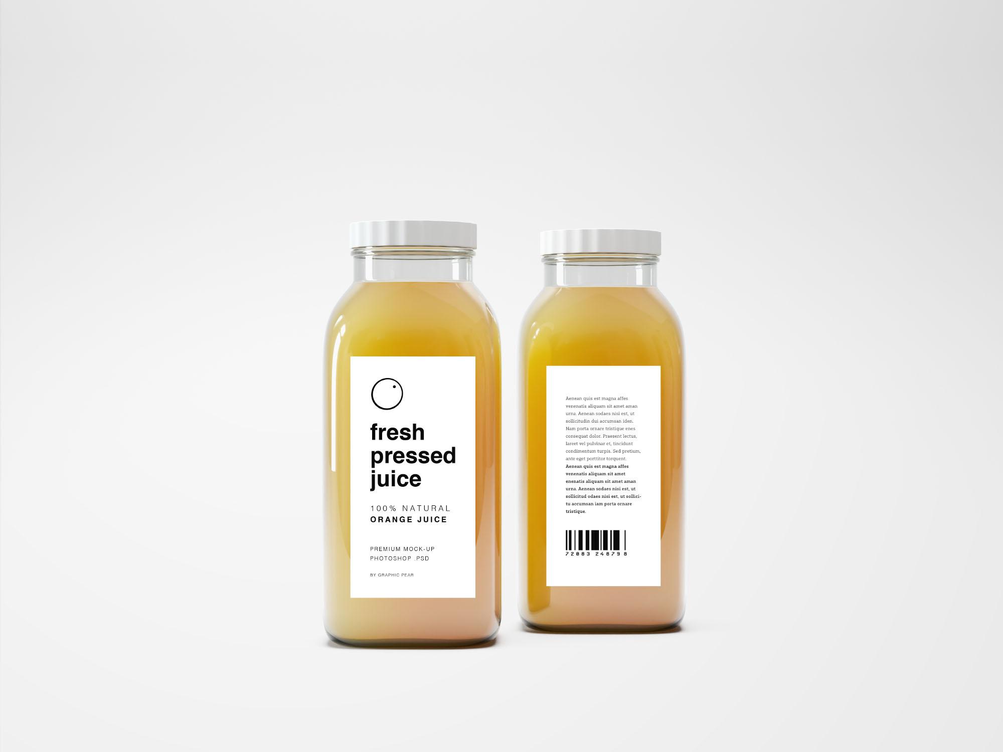 glass juice bottle mockup psd