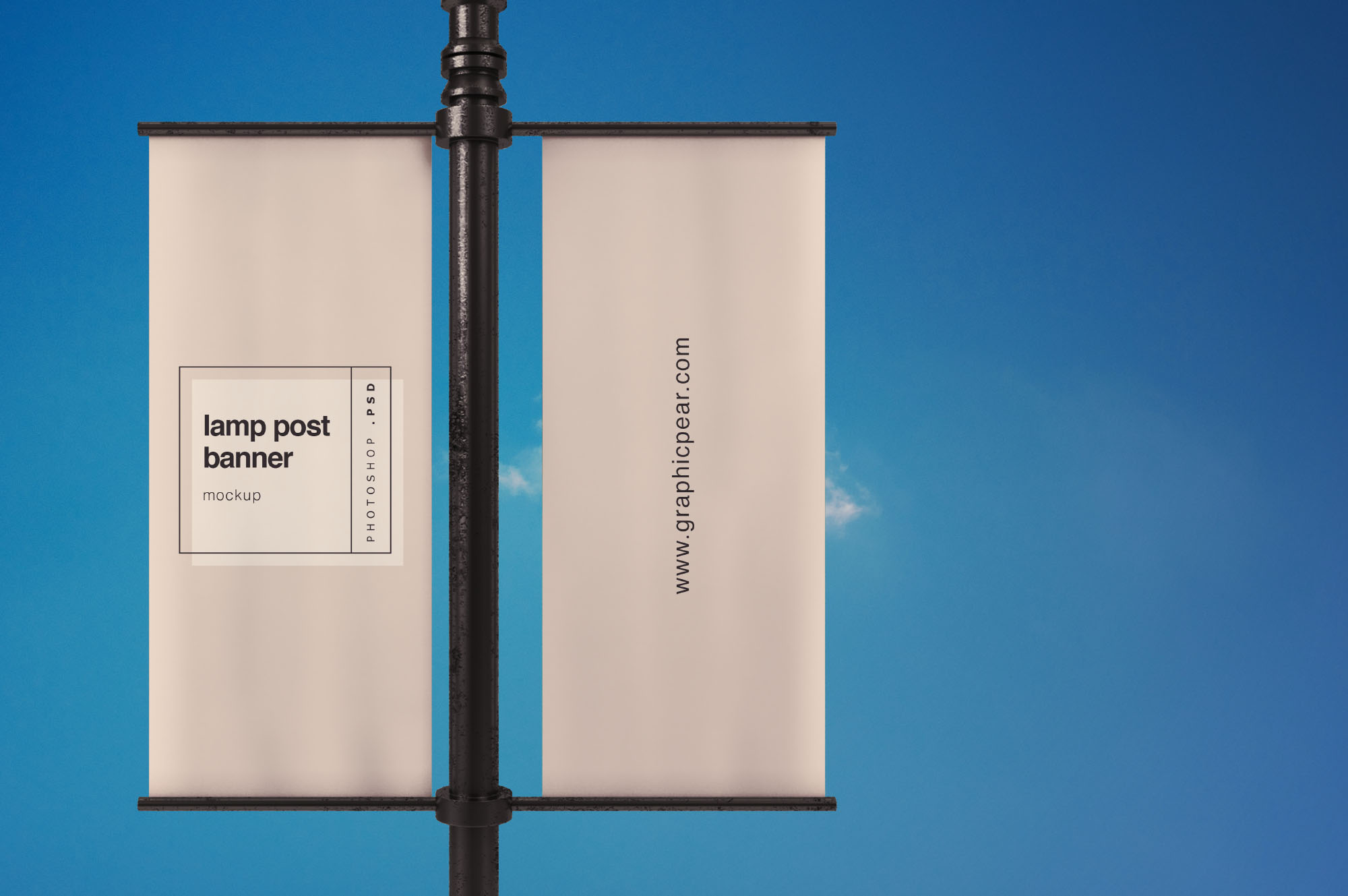 Lamp Post Banner Mockup PSD