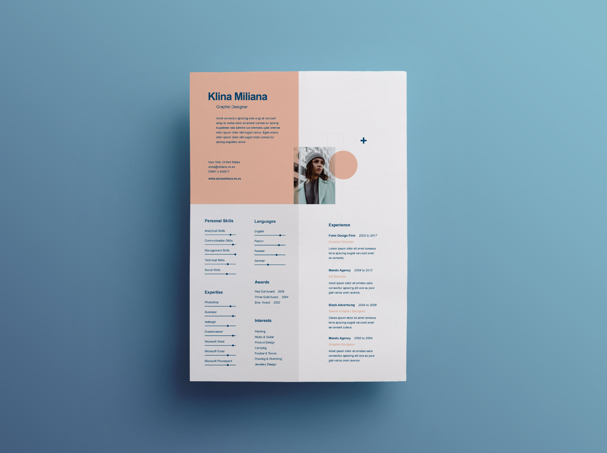 split style resume template