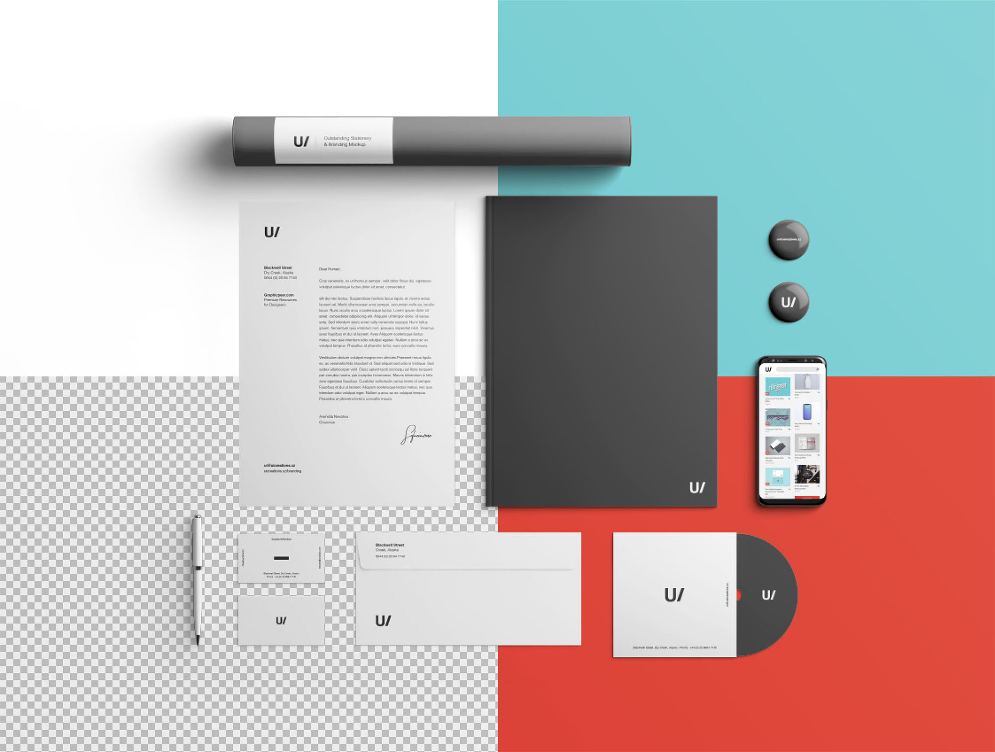 Branding & Stationery Mockup - Transparent