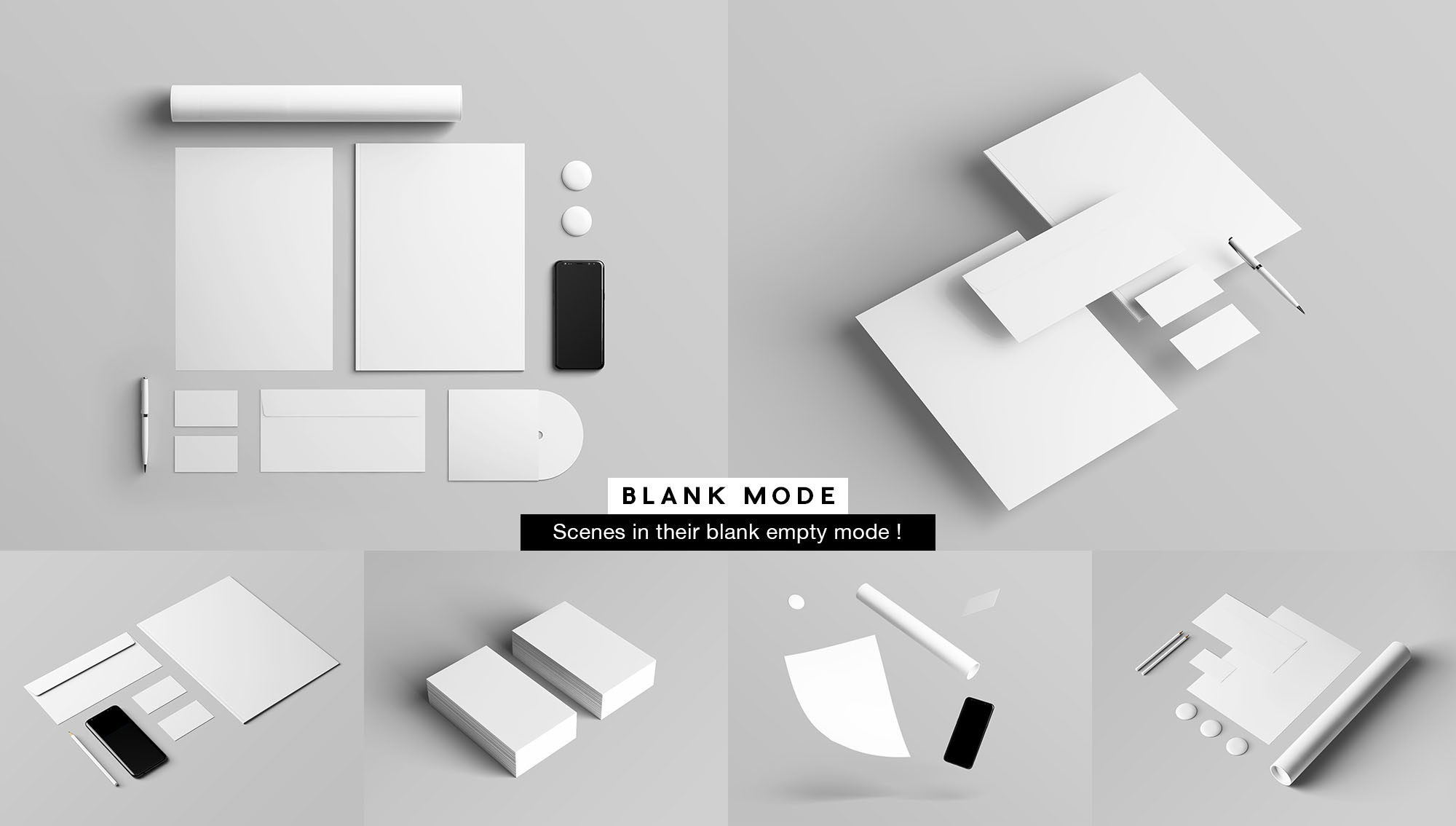 Branding & Stationery Mockup - White