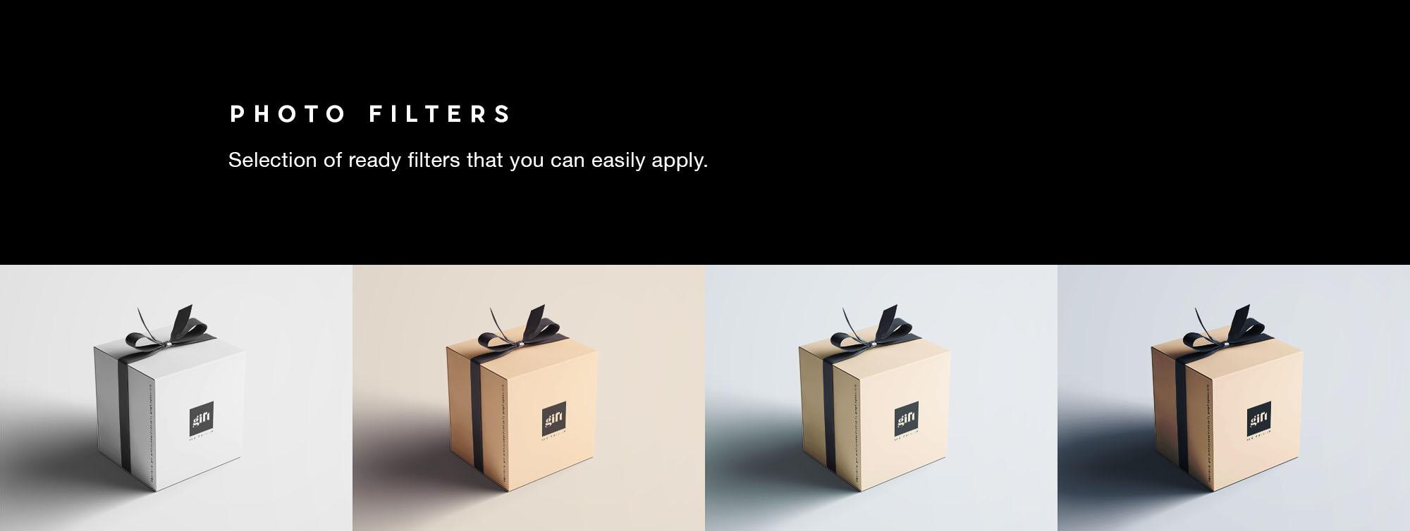 Gift Box Mockup - Filters