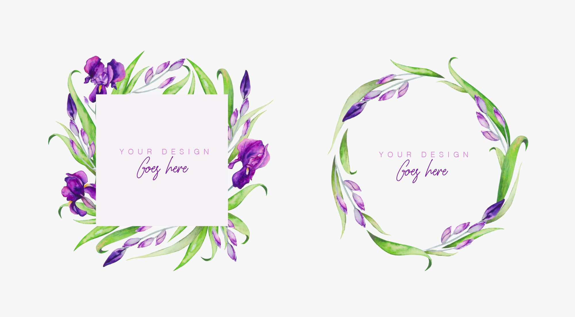 Iris Watercolor Floral Collection Compositions 3