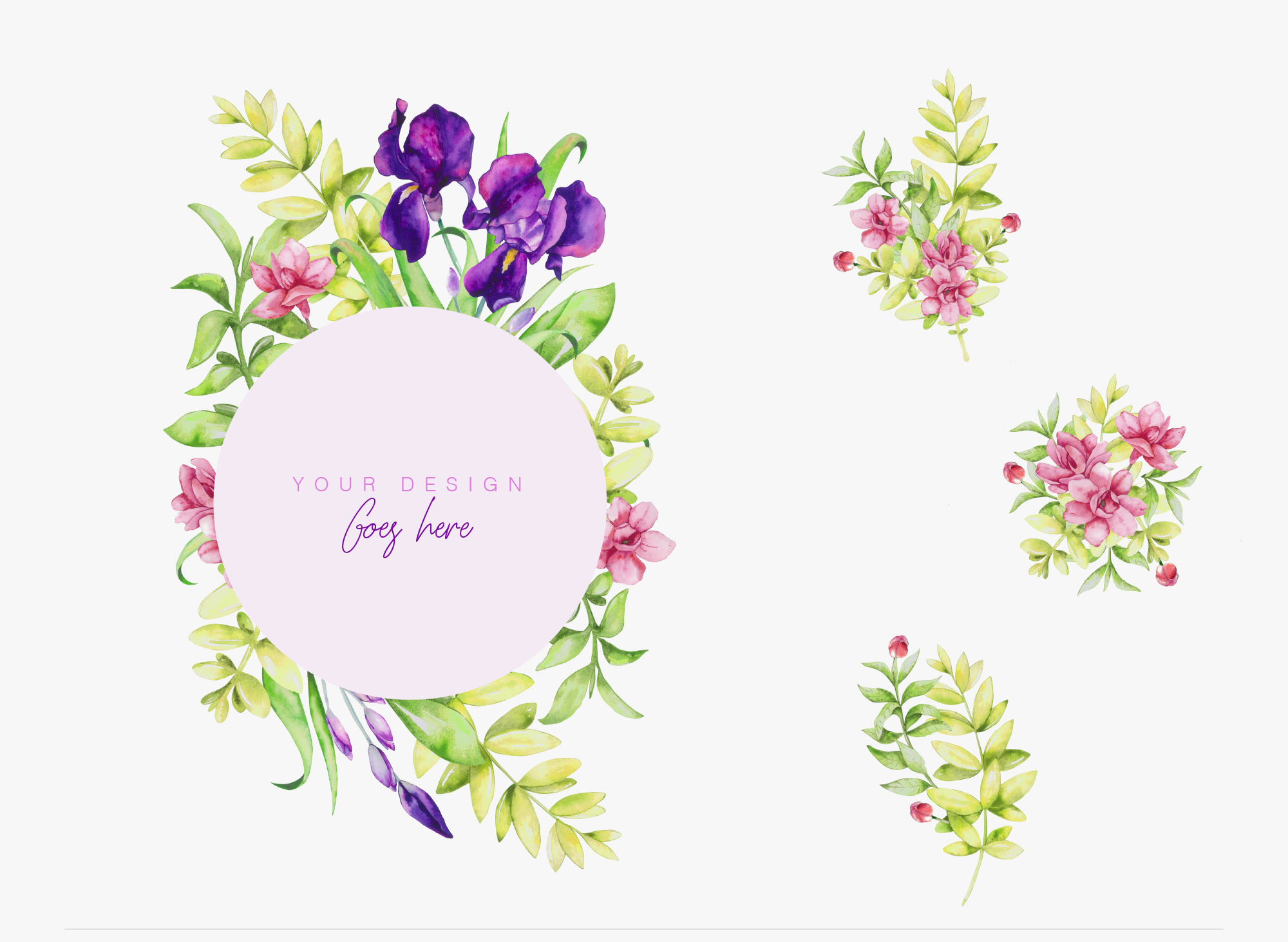 Iris Watercolor Floral Collection Second Style 01