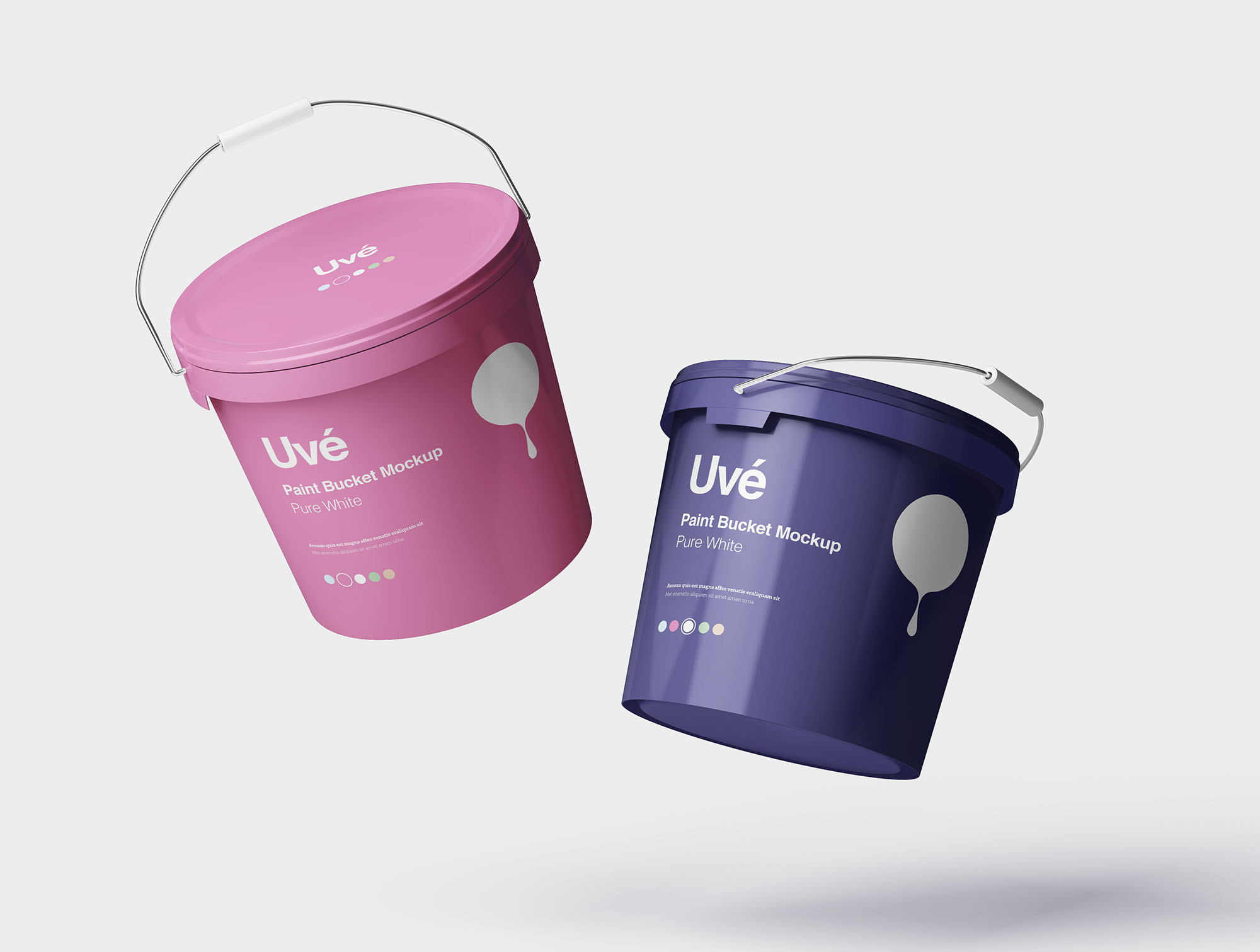 Floating Plastic Paint Bucket Mockup