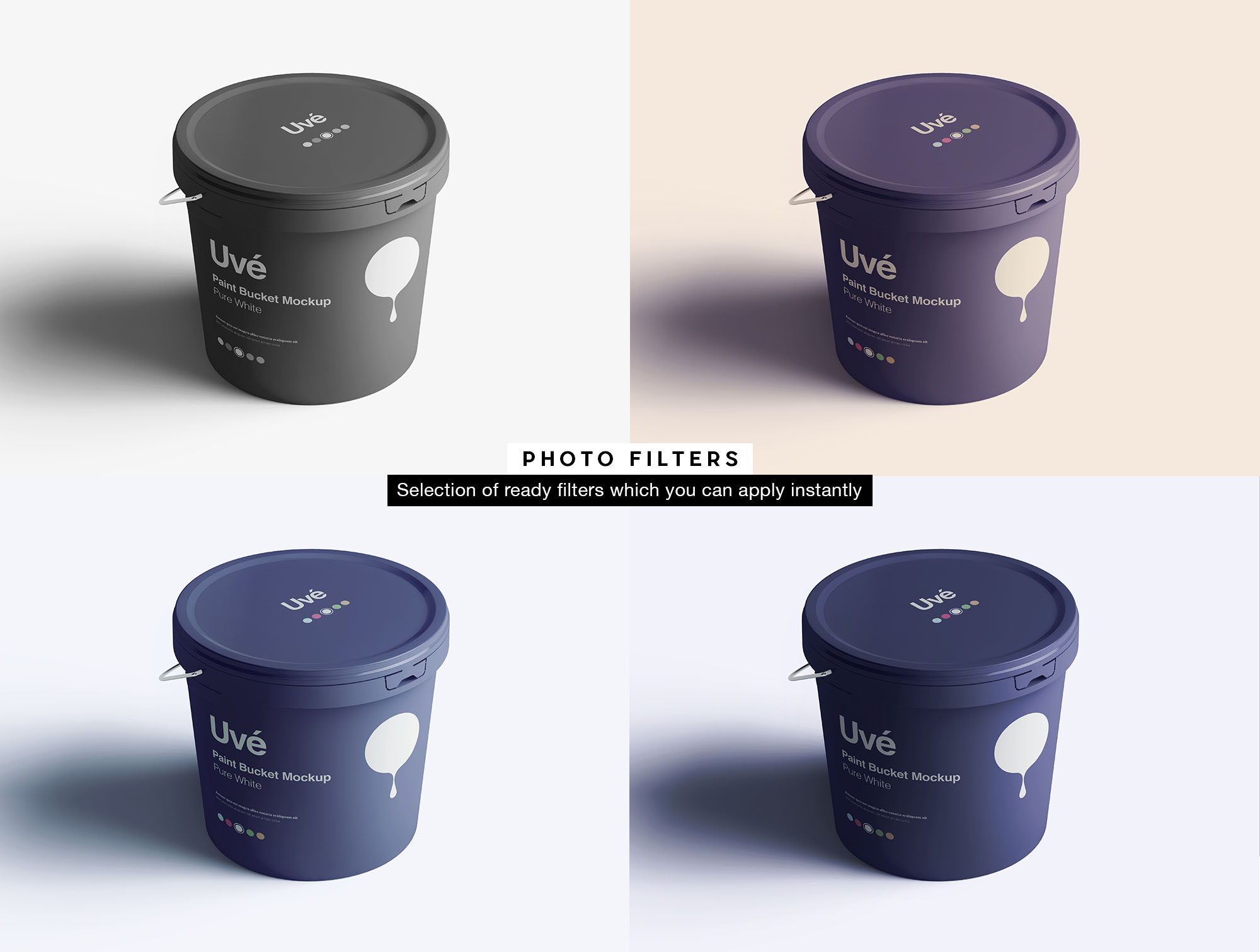 Plastic Paint Bucket Mockup - Filters