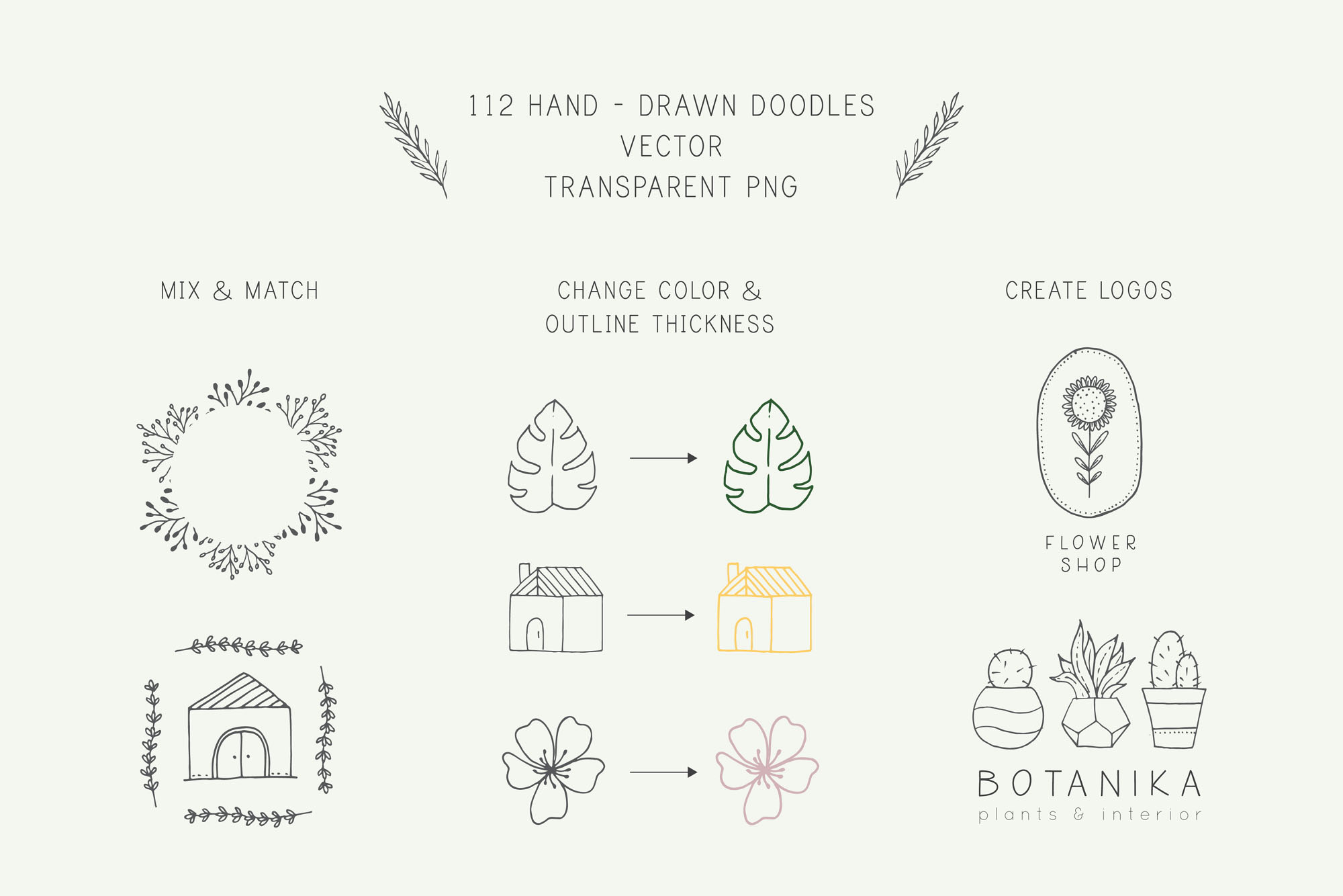 Nature and Botanical Hand Drawn Doodles - Features