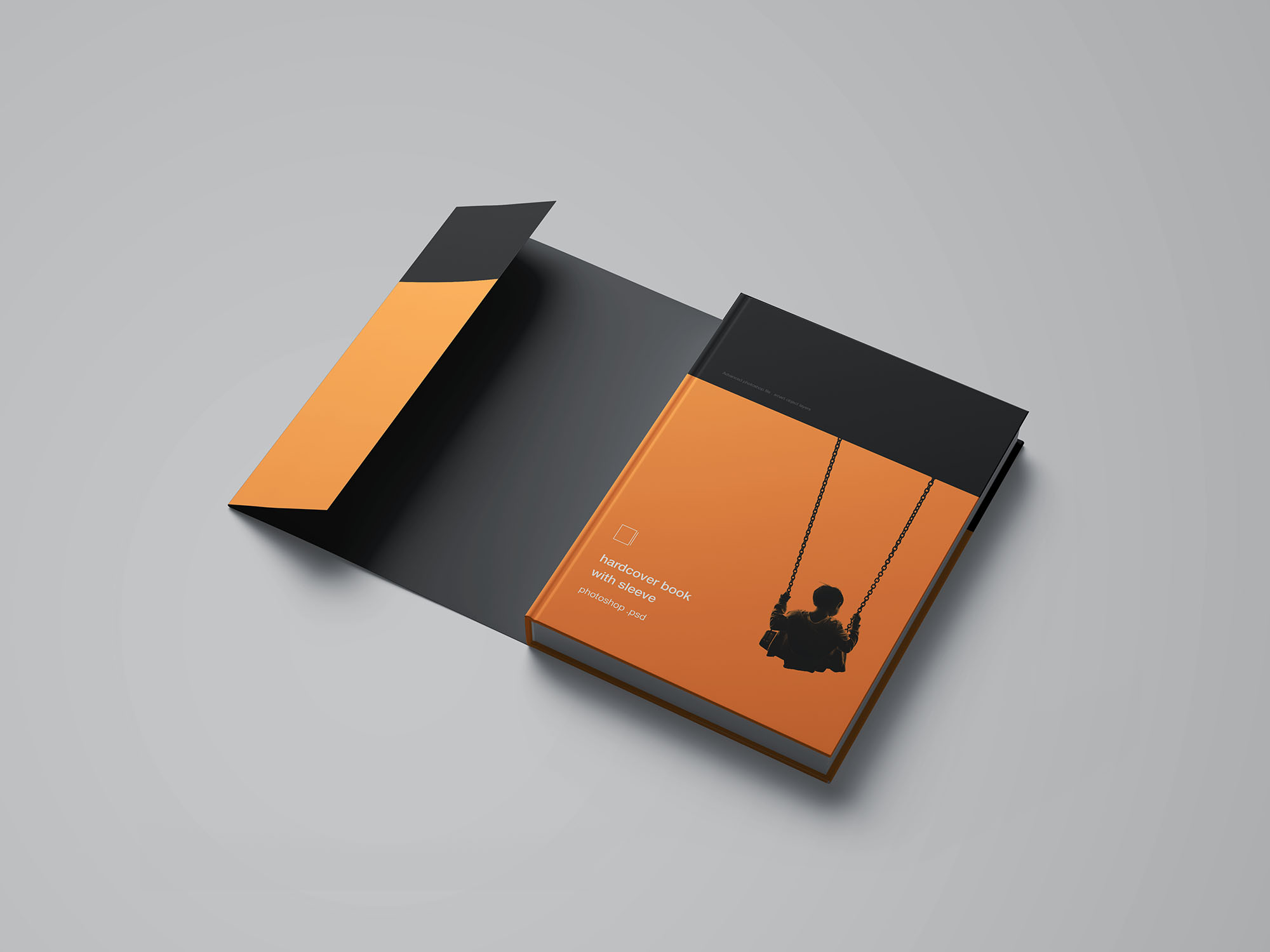 Hardcover Book with Sleeve Mockup
