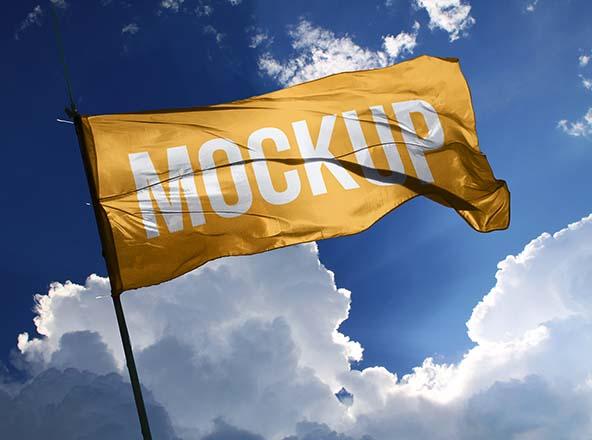 Wide Flag Mockup