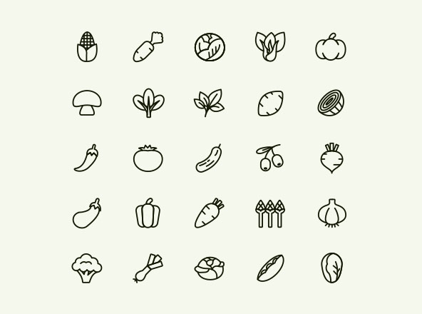 Line Vegetable Icons