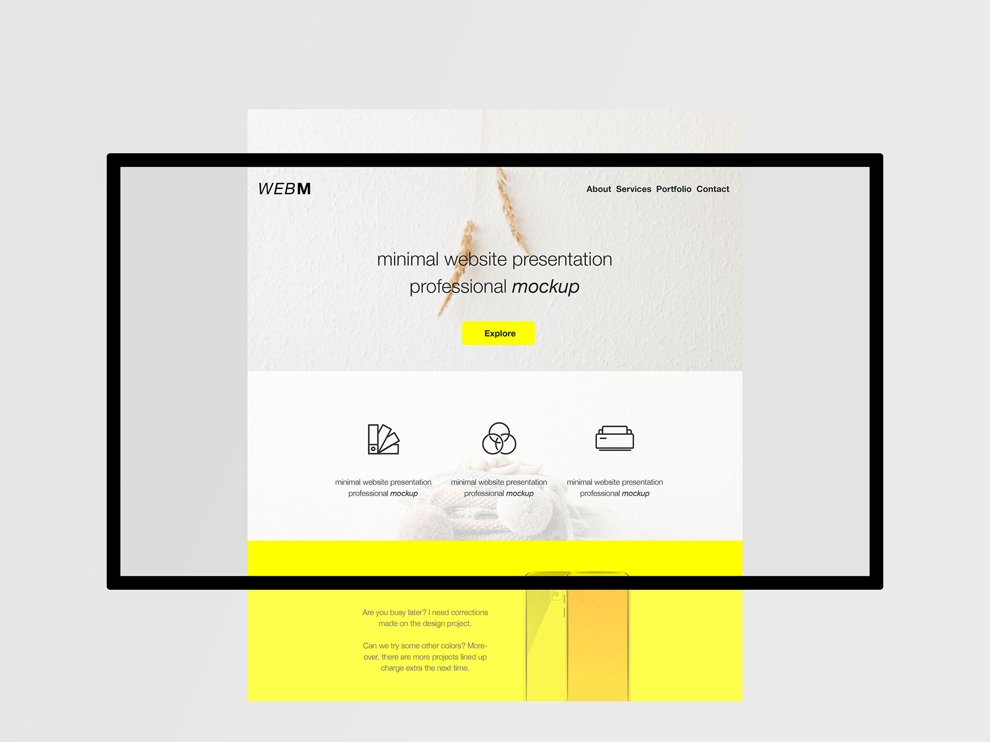 minimal flat website presentation mockup