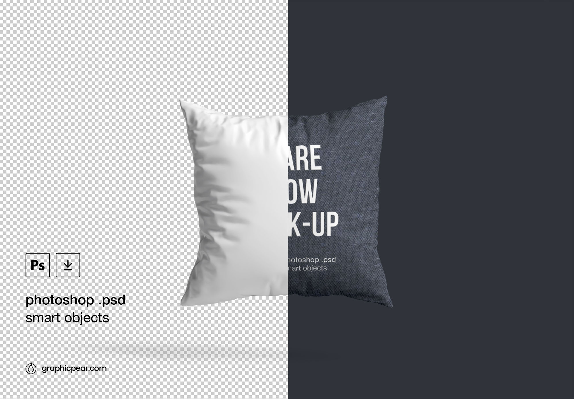 Square Pillow Mockup - PSD