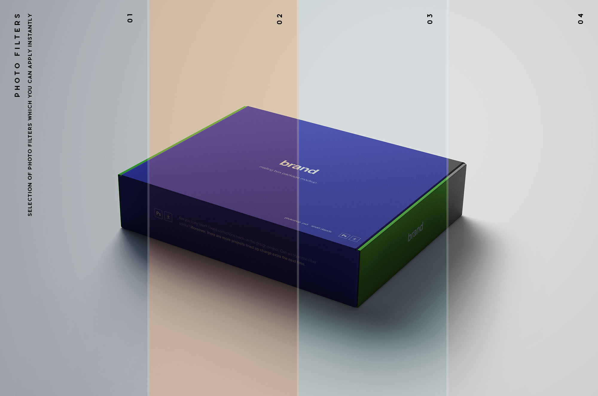 Package Box Package Mockup - Photo Filters