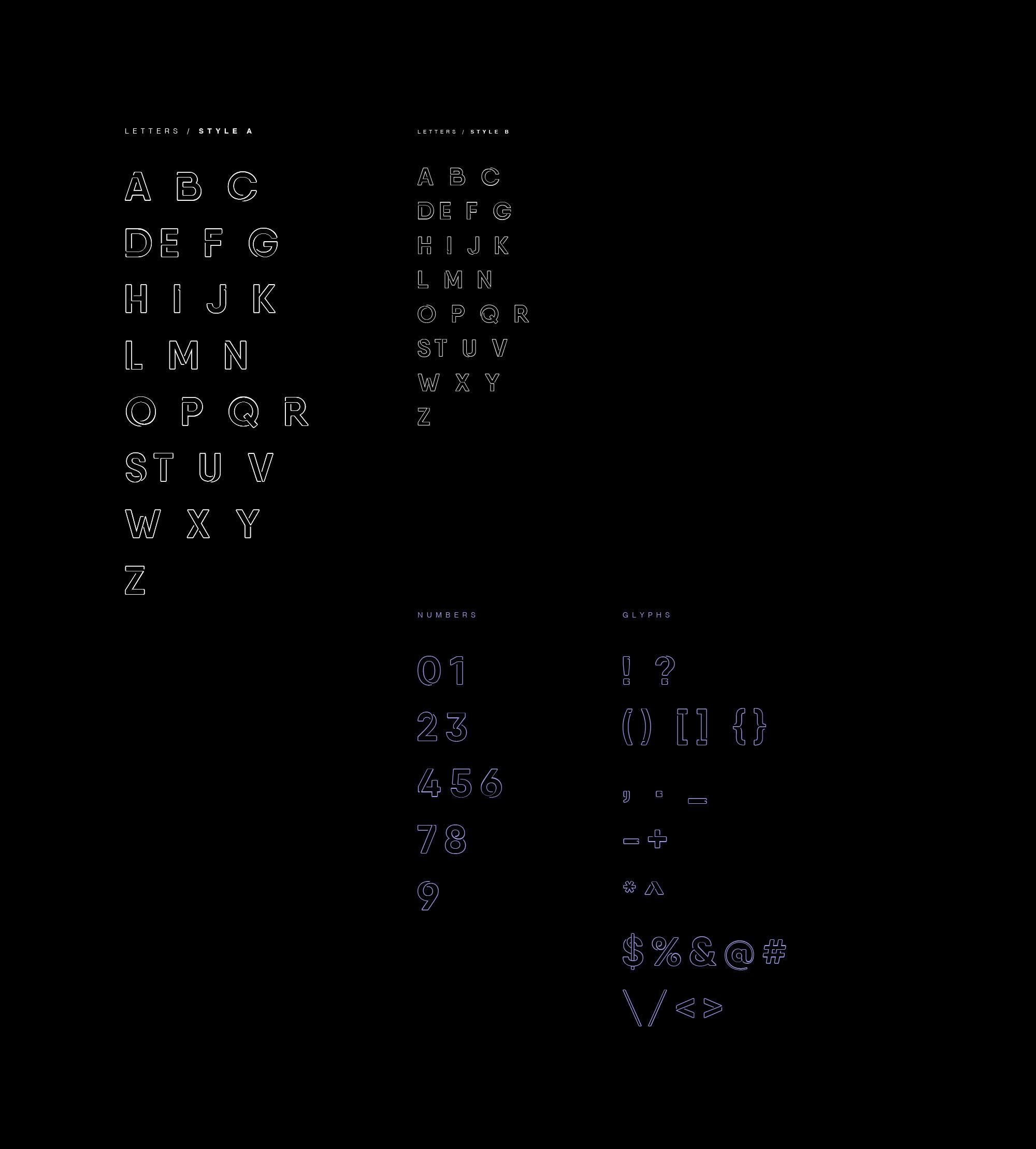 Neon Font Letters & Numerals
