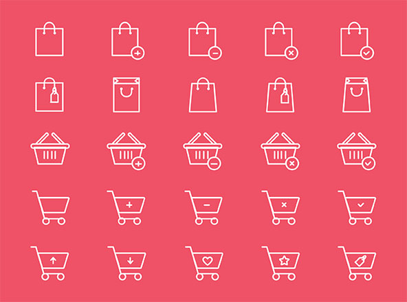 Shopping Bag Cart Icons