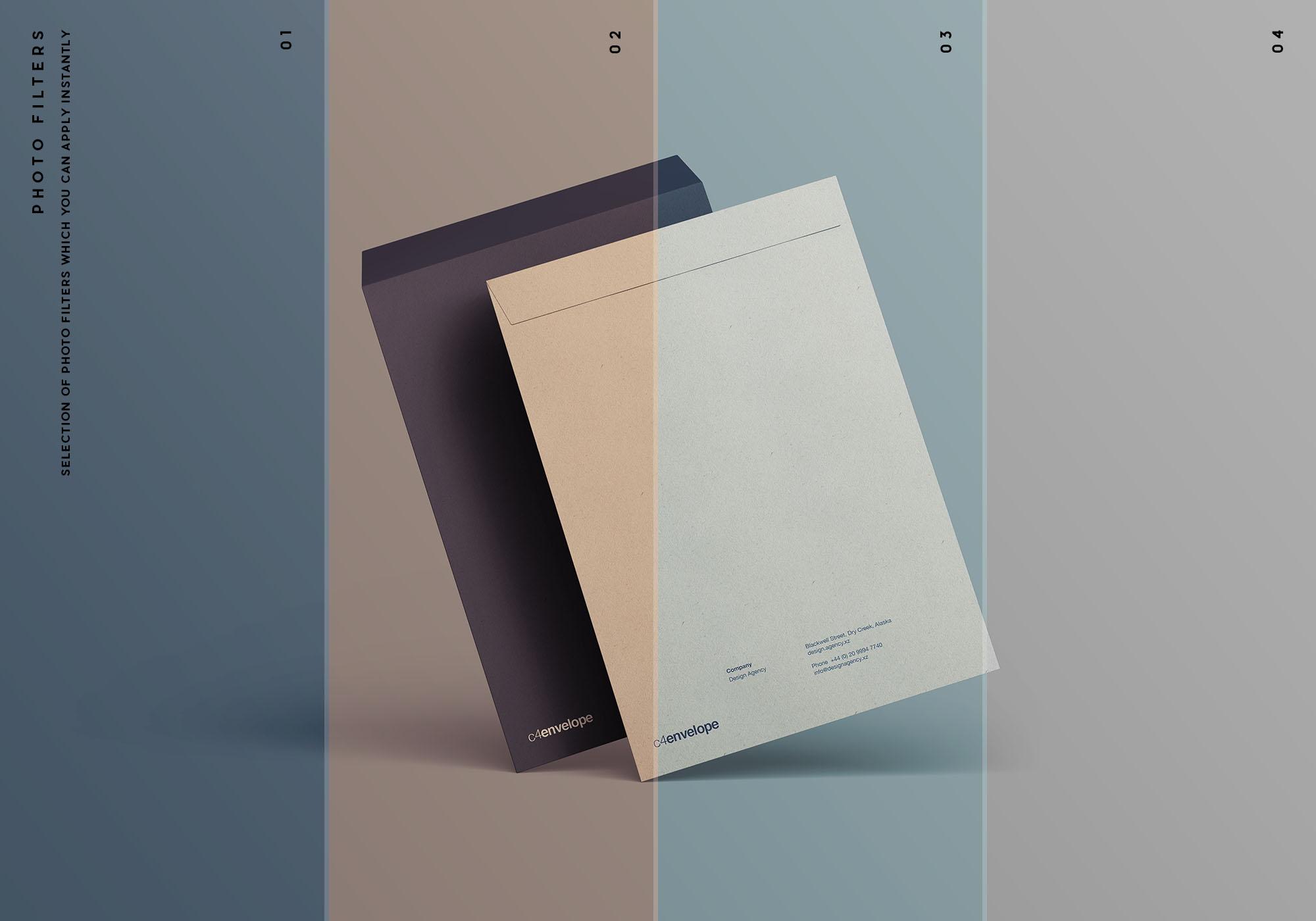 C4 Envelope Mockup - Photo Filters