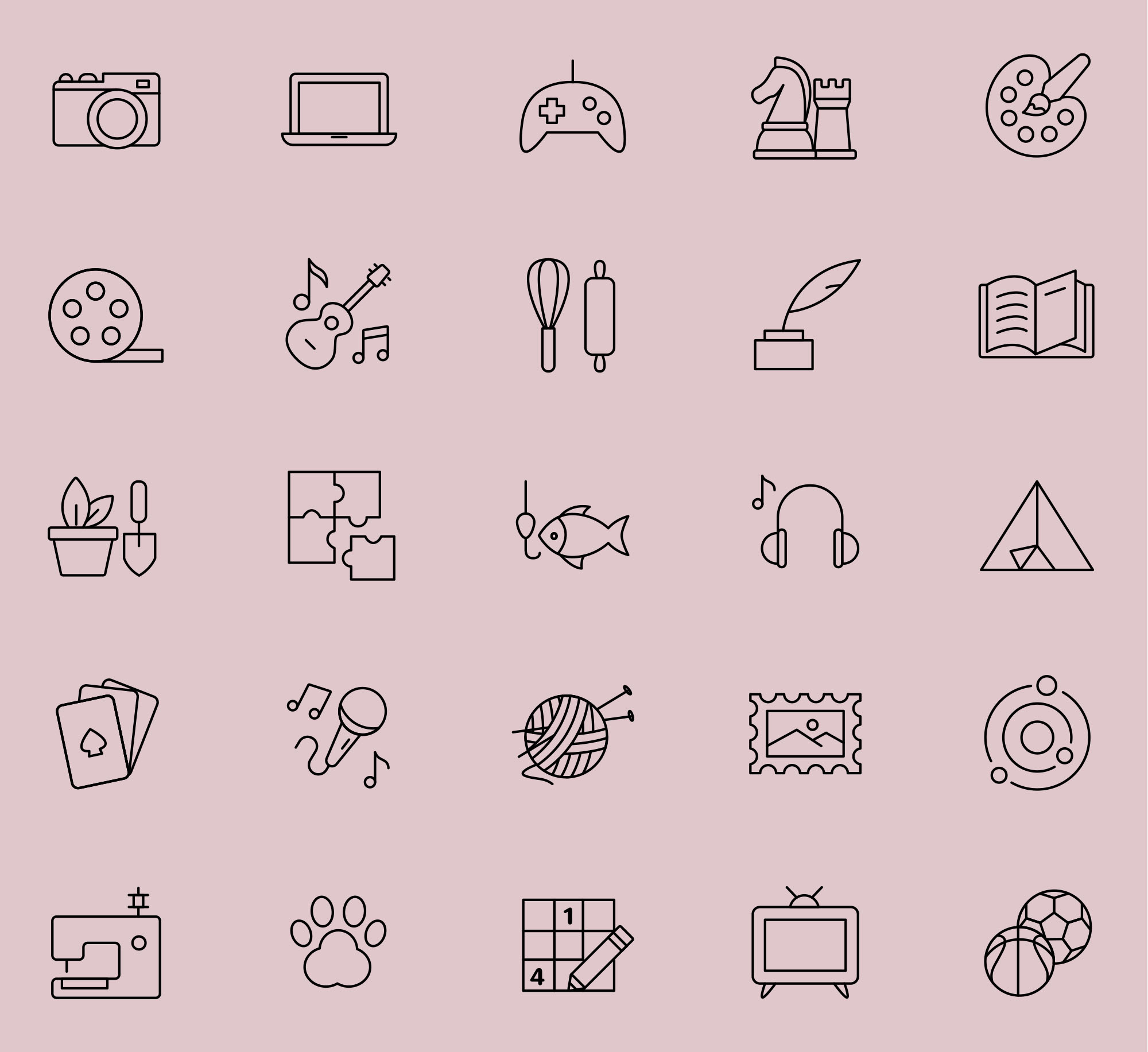 25 Line Interests Icons