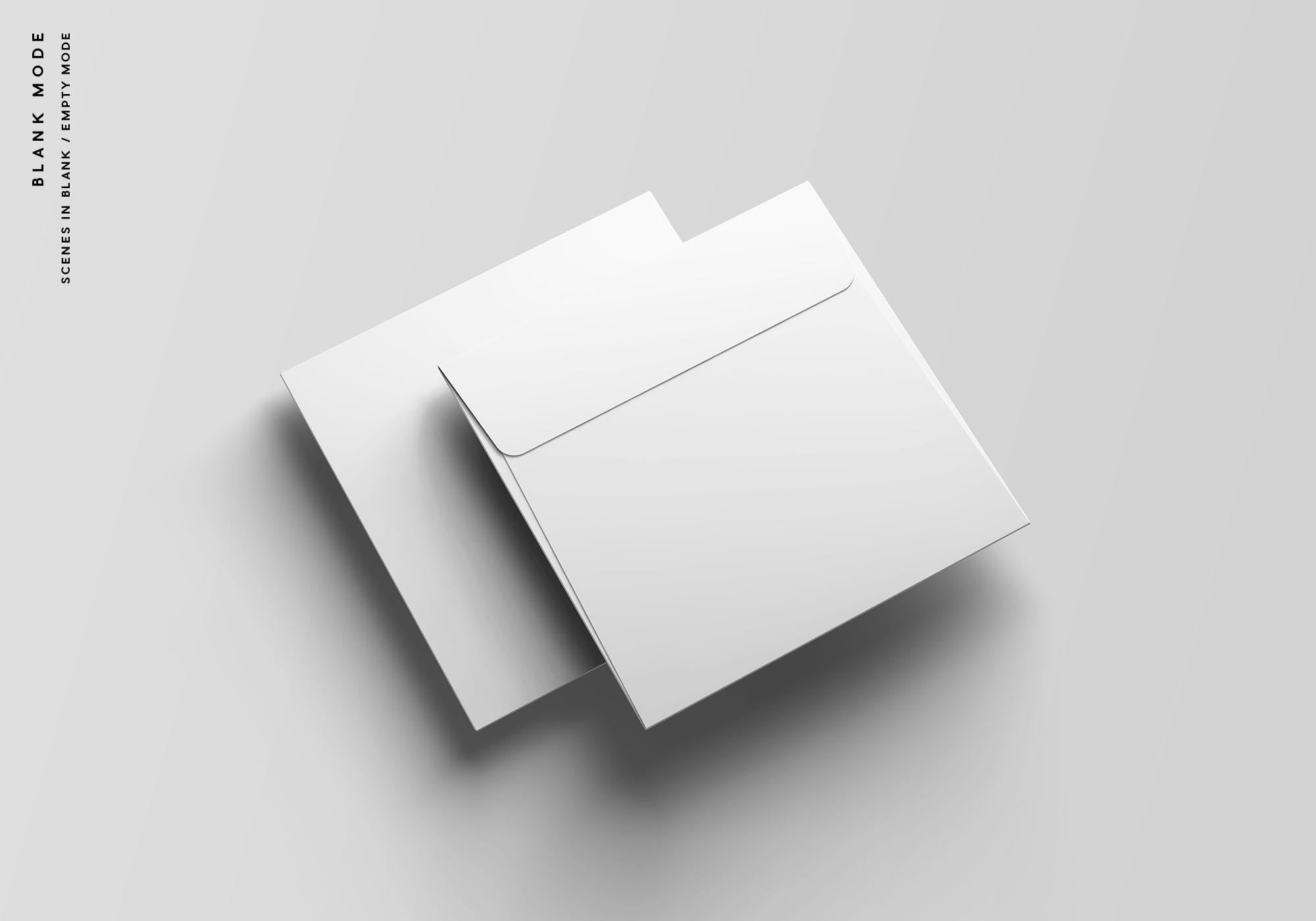 Square Envelope Mockup - Blank Mode