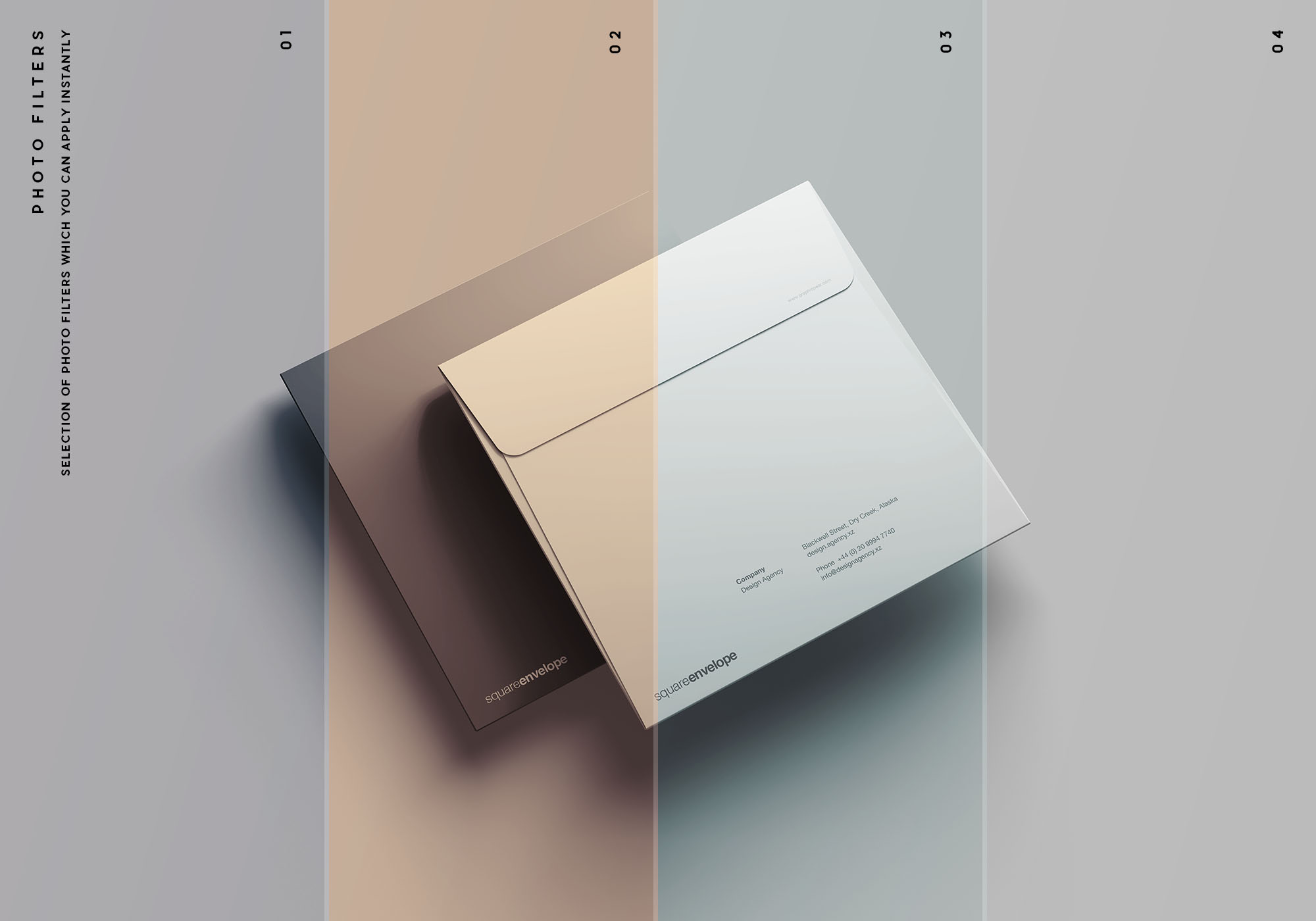 Square Envelope Mockup - Photo Filters