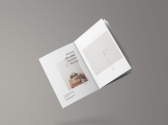 US Letter Floating Brochure Mockup