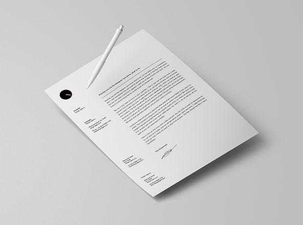 Letterhead & Pen Mockup